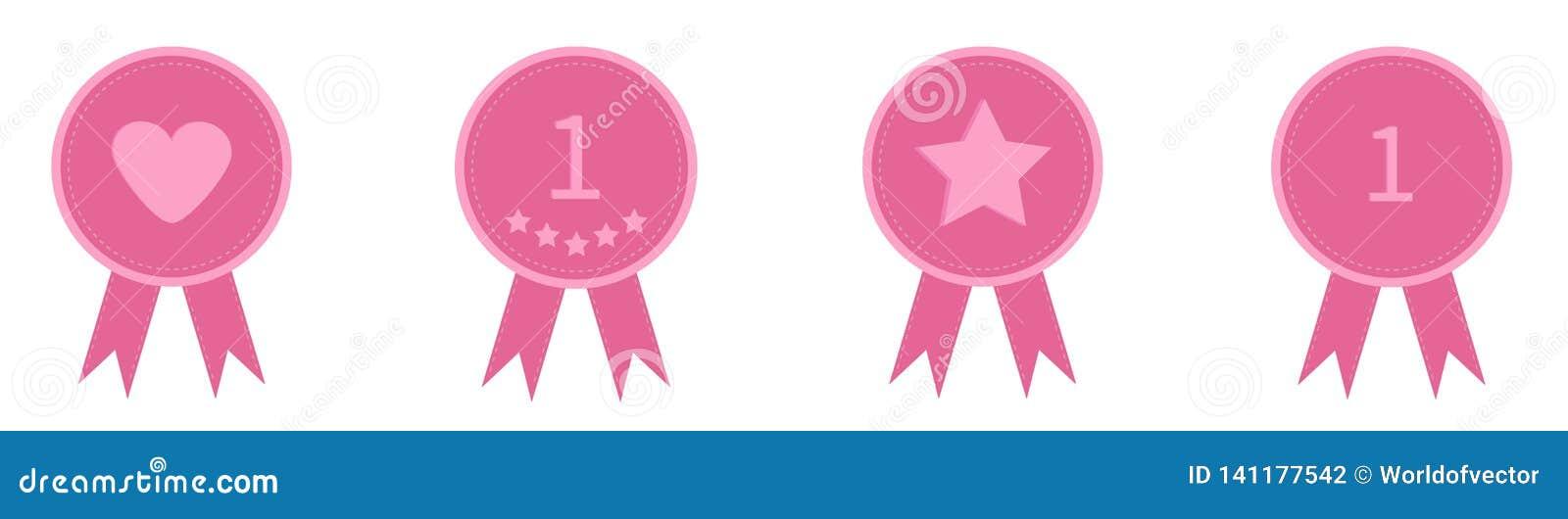 Линия значка установленная со звездой одно сердца и лентами Значок награды в плоском стиле дизайна Штриховой пунктир Белая предпо