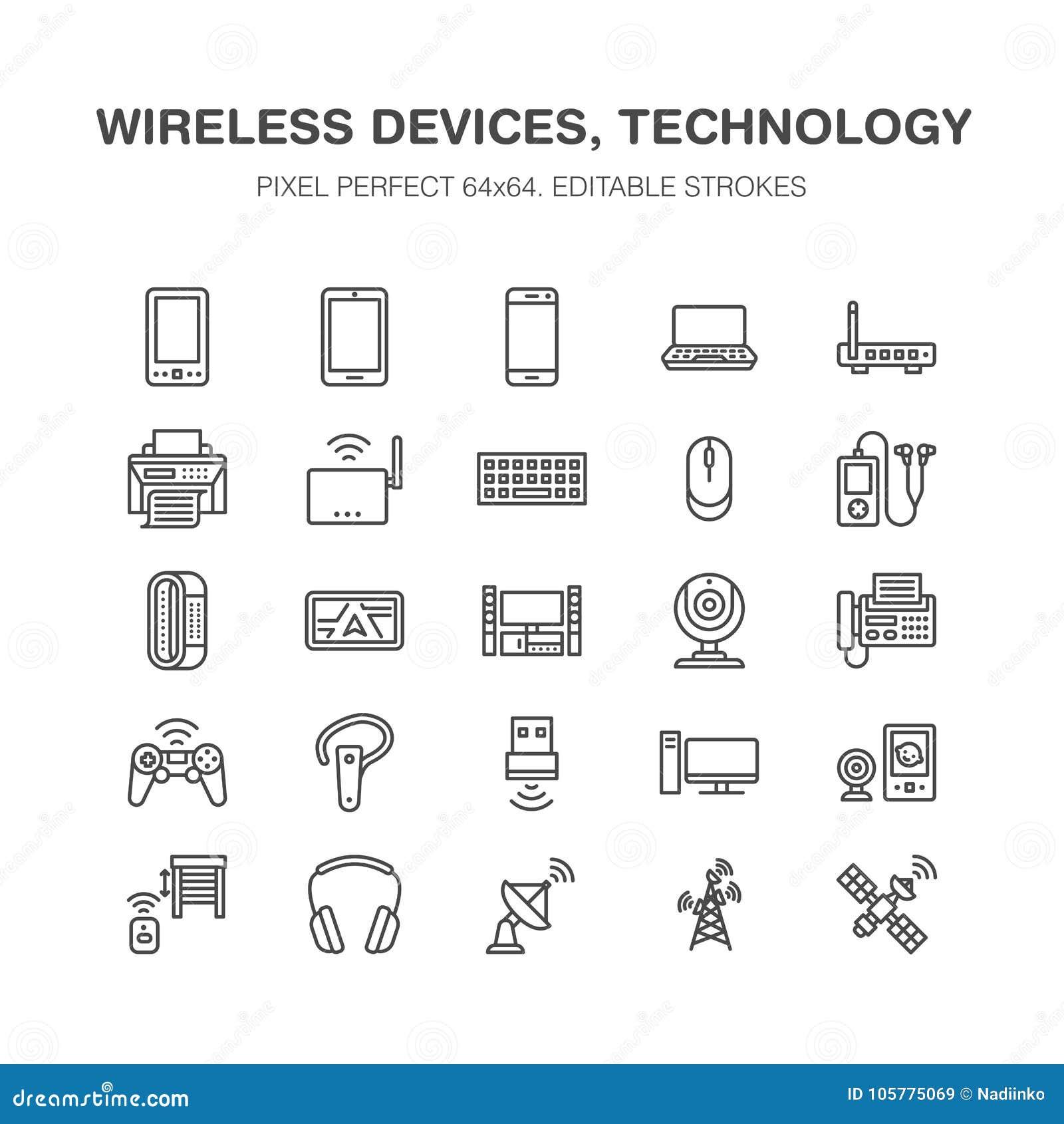 Линия значки беспроводных устройств плоская Знаки технологии интернет-связи Wifi Маршрутизатор, компьютер, smartphone, таблетка
