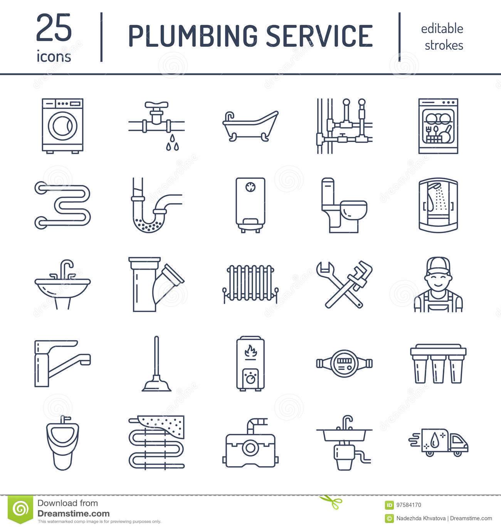 Линия значки вектора обслуживания трубопровода плоская Расквартируйте оборудование ванной комнаты, faucet, туалет, трубопровод, с