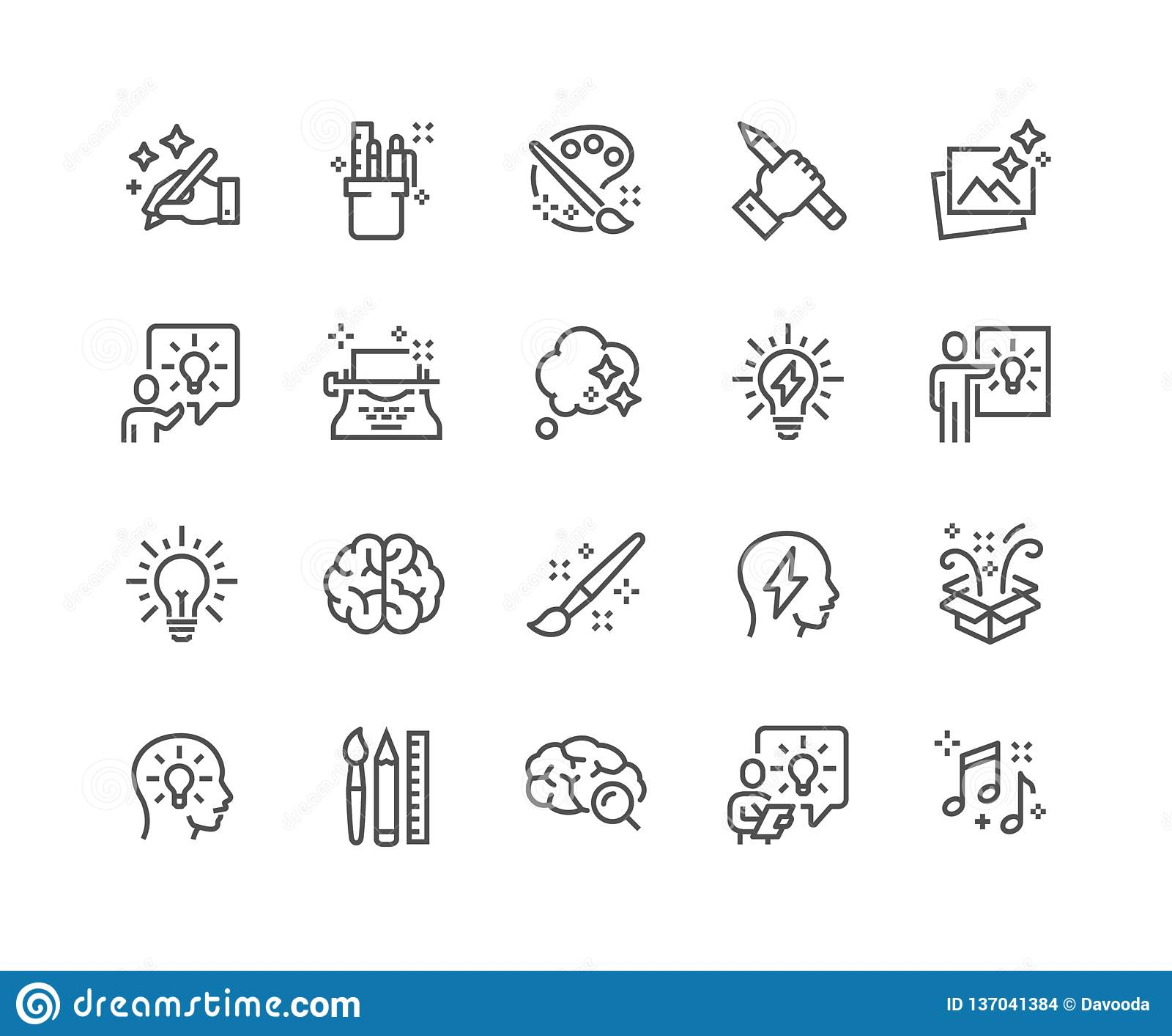 Линия значки творческих способностей