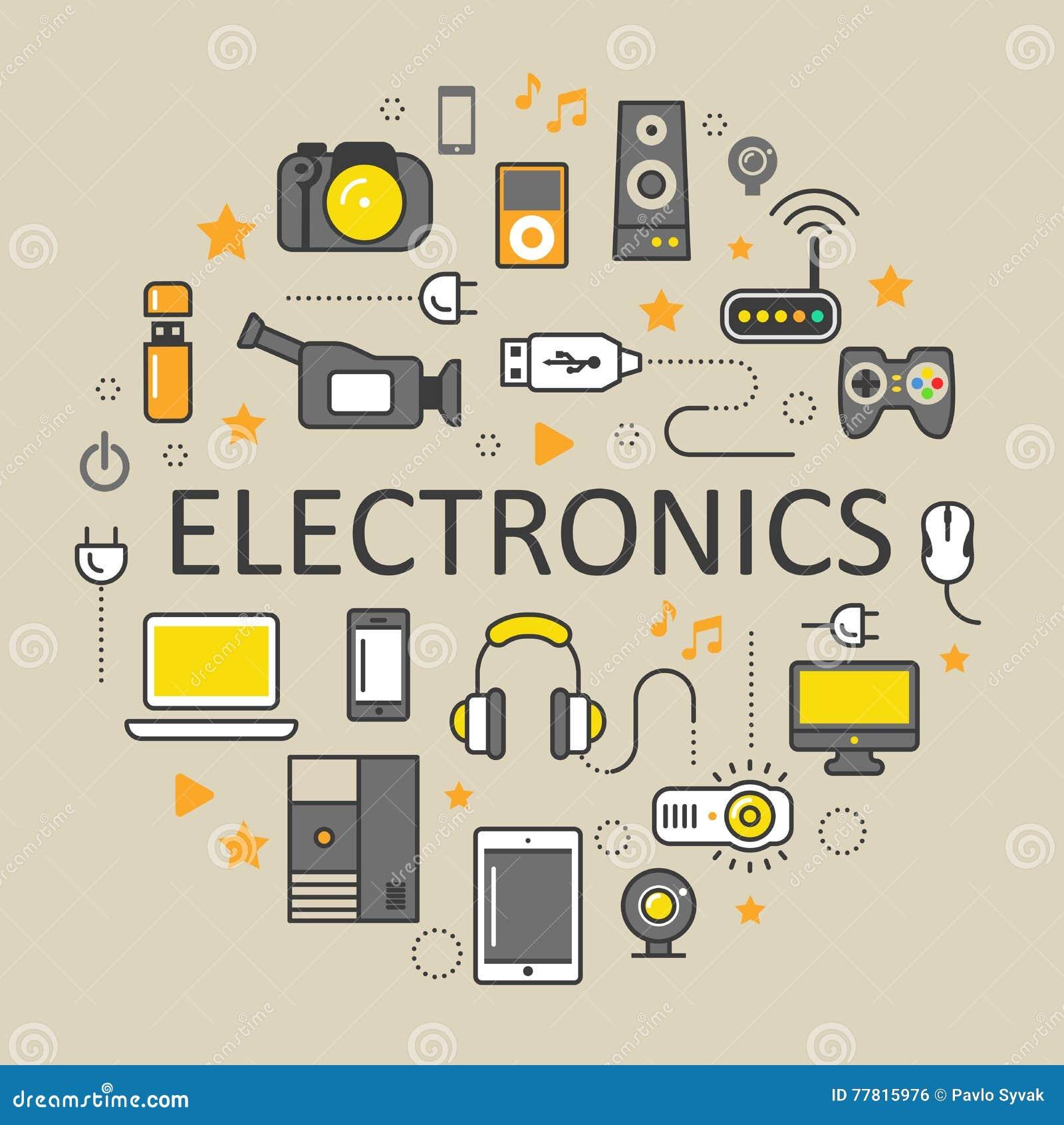 Линия значки технологии электроники искусства тонкие установленные с компьютером и устройствами