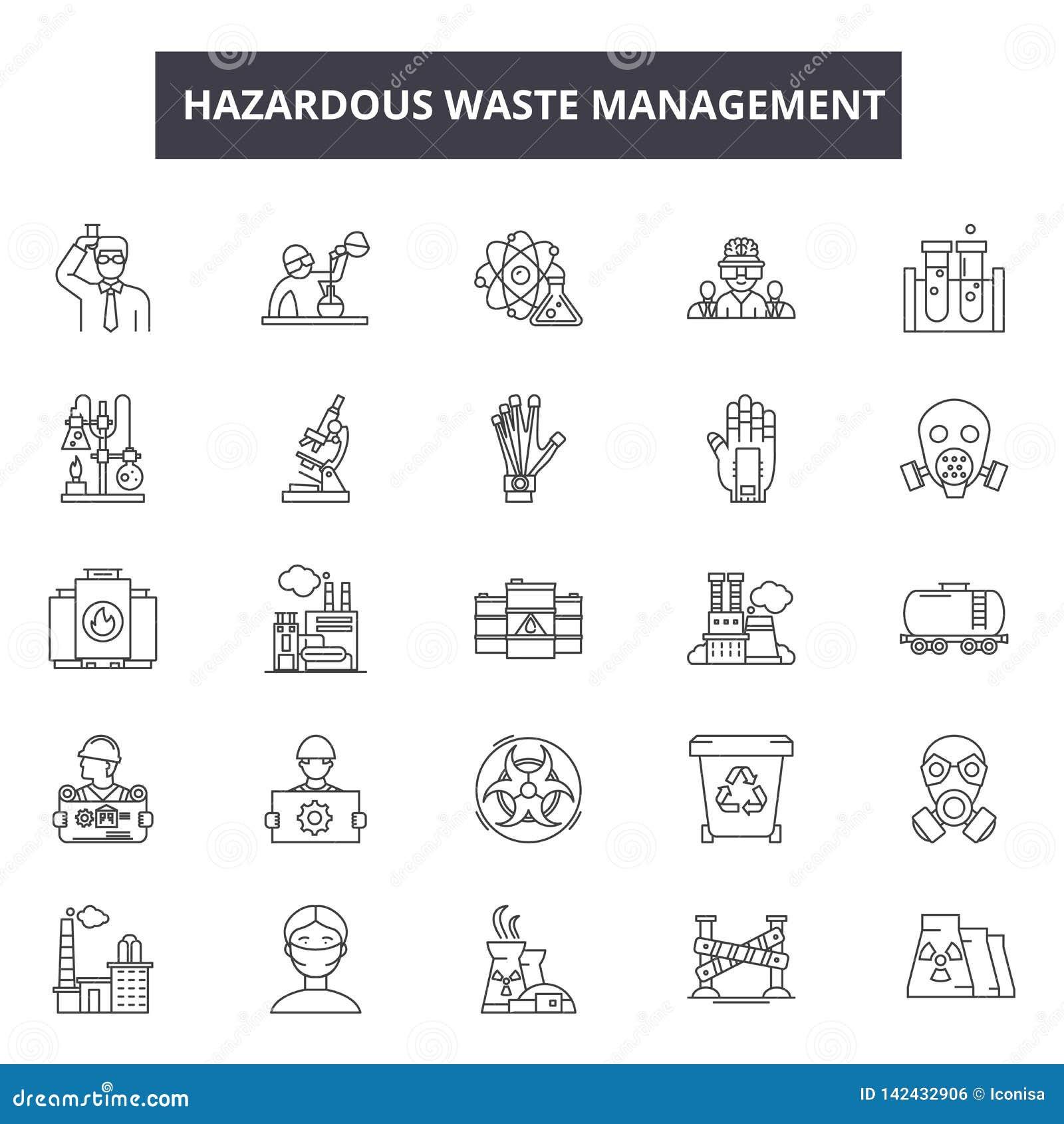 Линия значки управления токсичных отходов для сети и мобильного дизайна Editable знаки хода Управление токсичных отходов