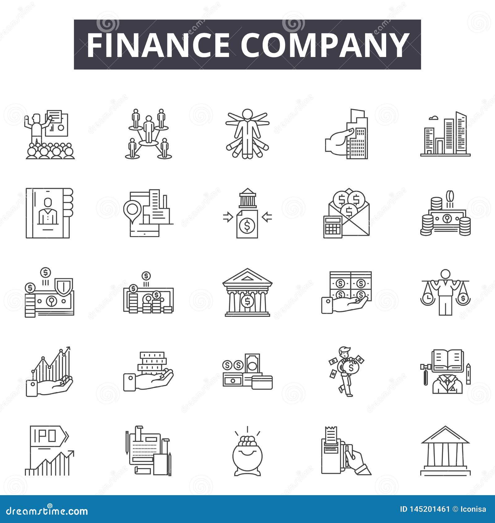 Линия значки финансовой компании, знаки, набор вектора, концепция иллю