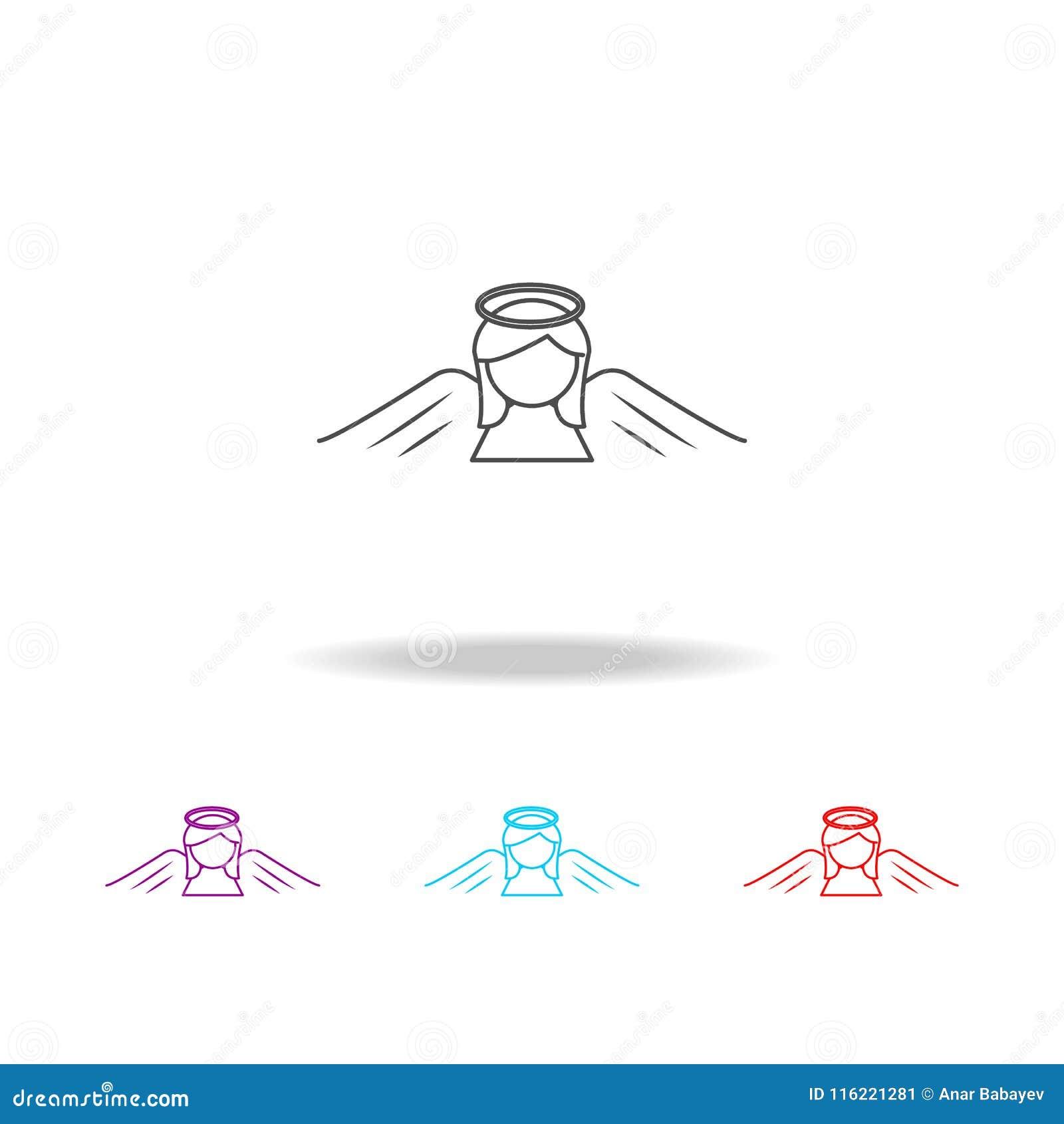 Линия значок Анджела женщины Элементы ангела и демона в multi покрашенных значках Наградной качественный значок графического диза