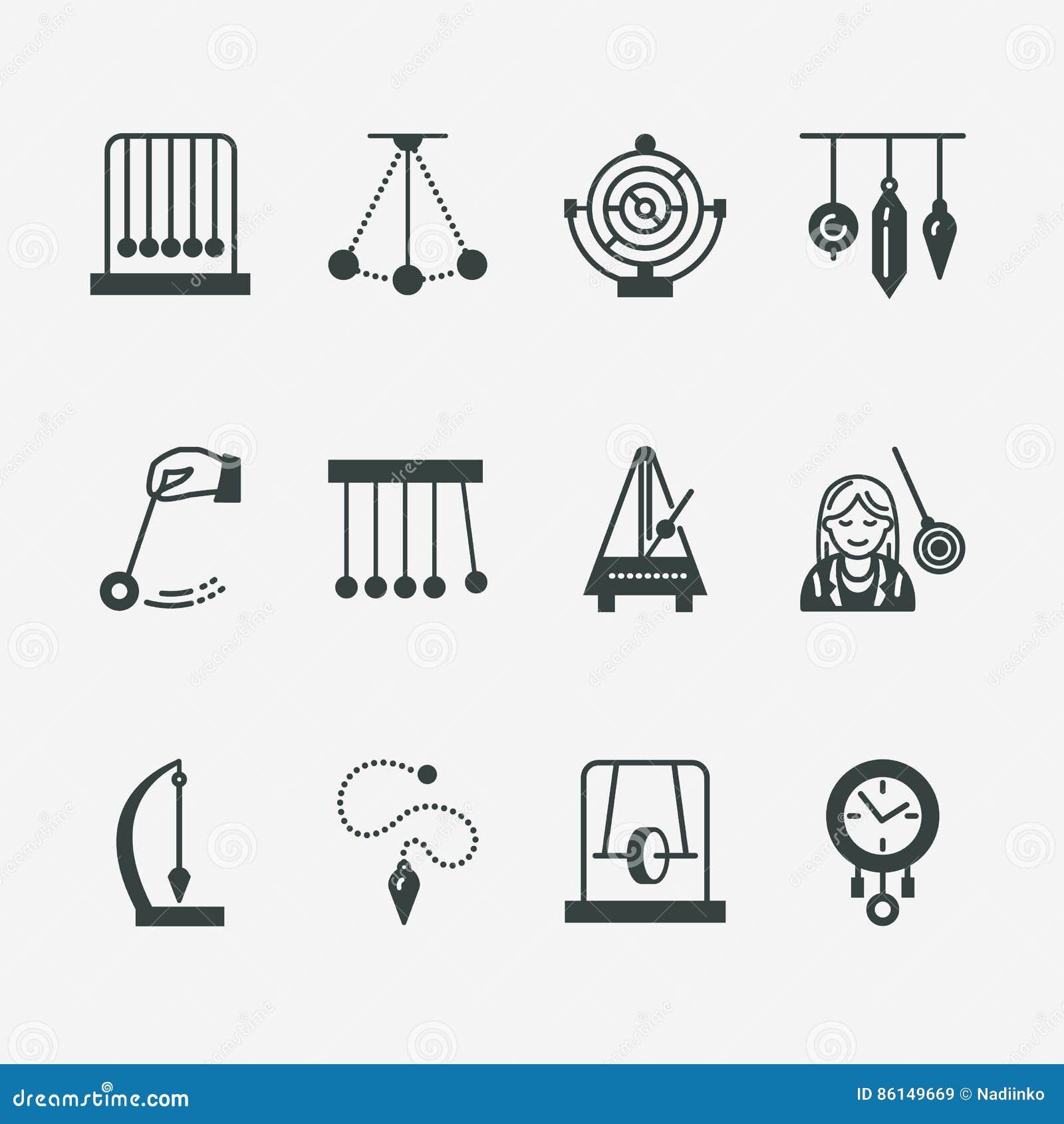 Линия значок вектора плоская типов маятника Вашгерд Ньютона, метроном, маятник таблицы, чернь perpetuum, волчок линейно