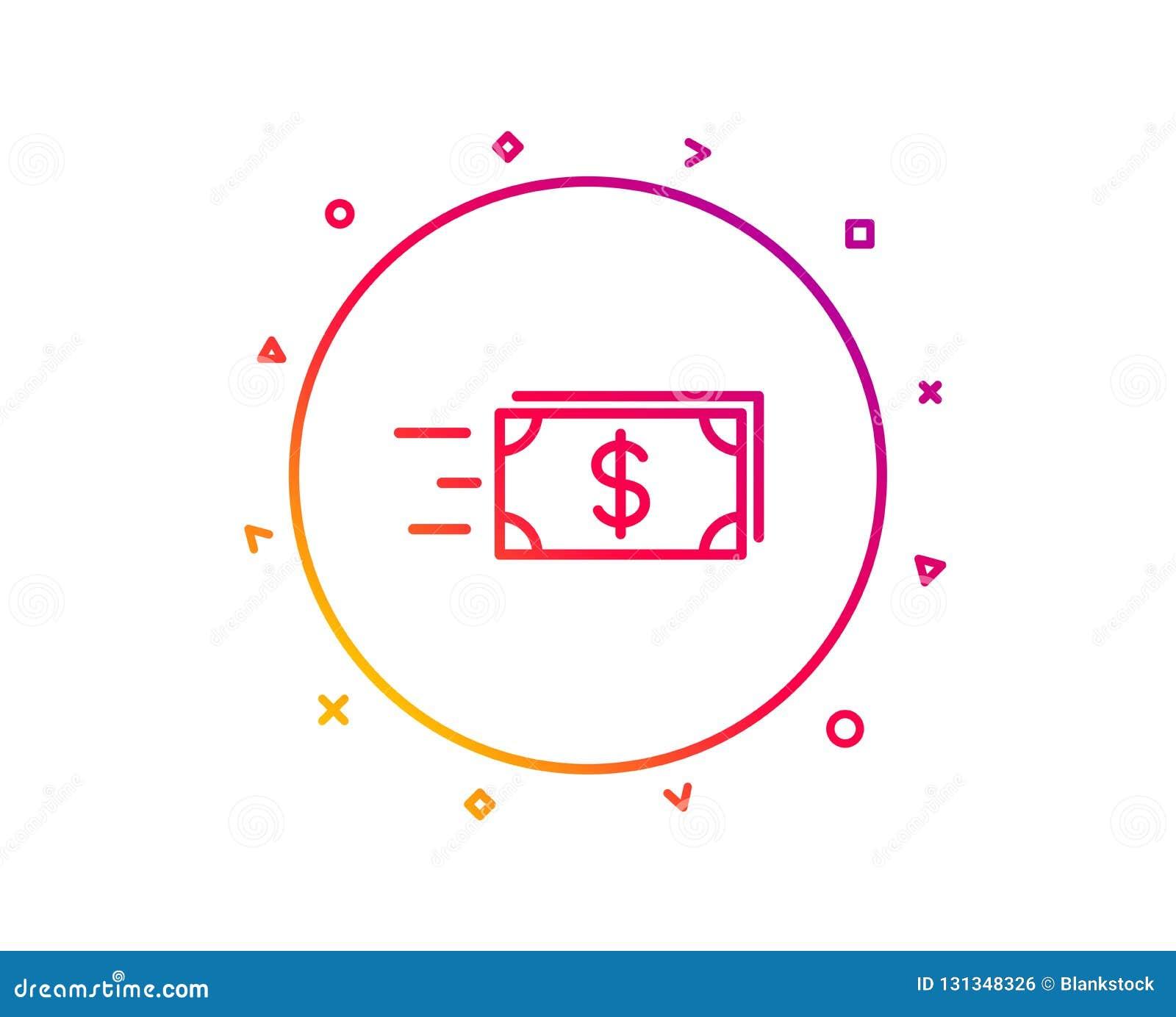 Линия значок денег наличных денег перехода banister вектор