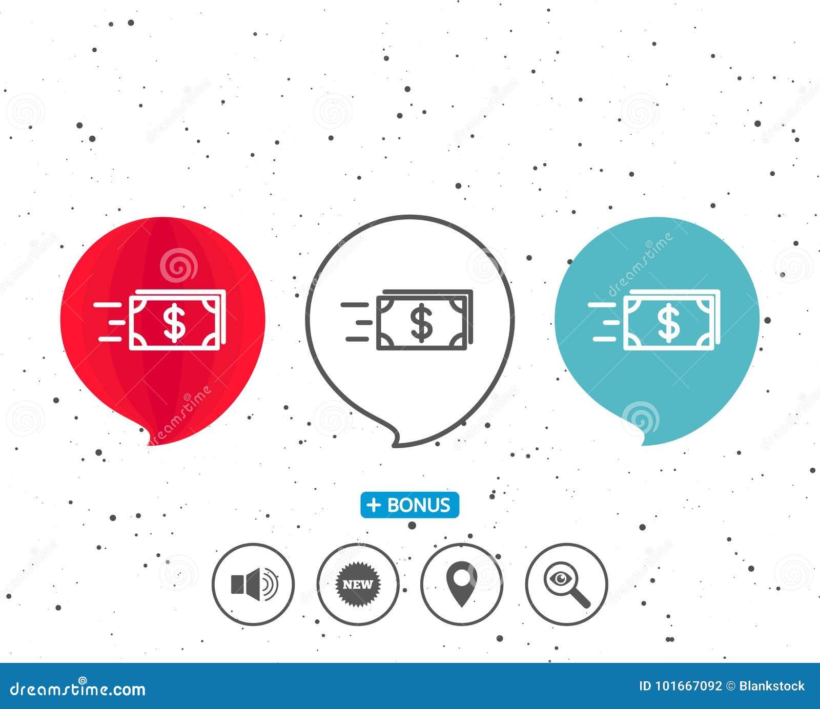 Линия значок денег наличных денег перехода banister