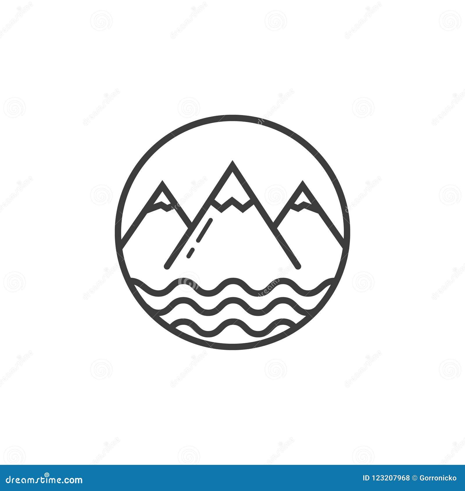 Линия значок искусства гор и пруда развевает в круглой рамке