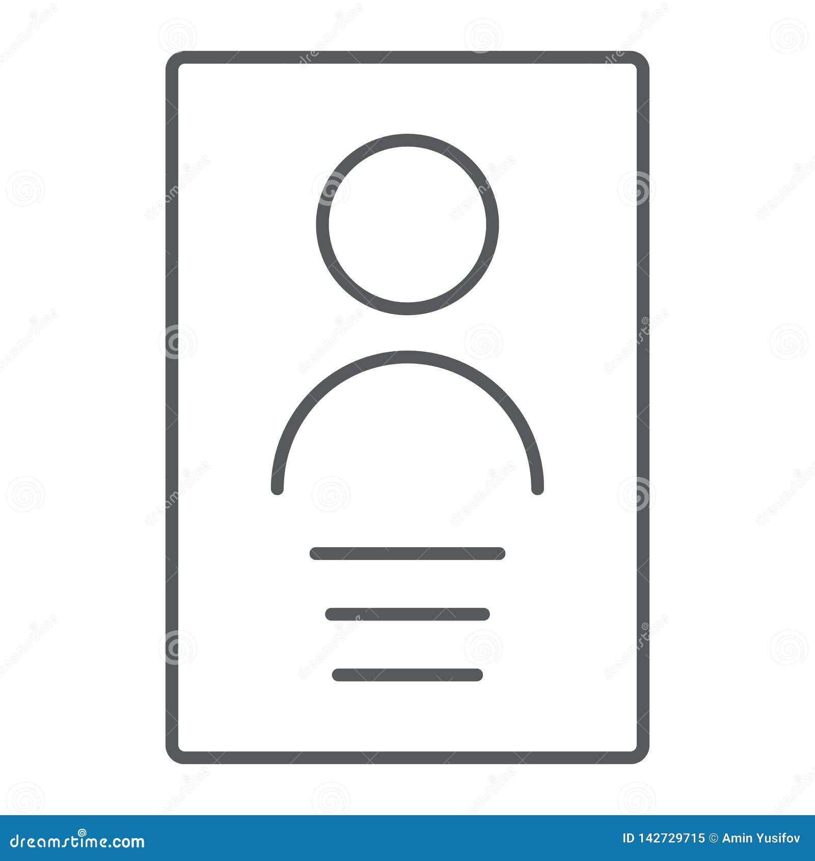 Линия значок личных данных тонкая, файл и информация, знак документа, в