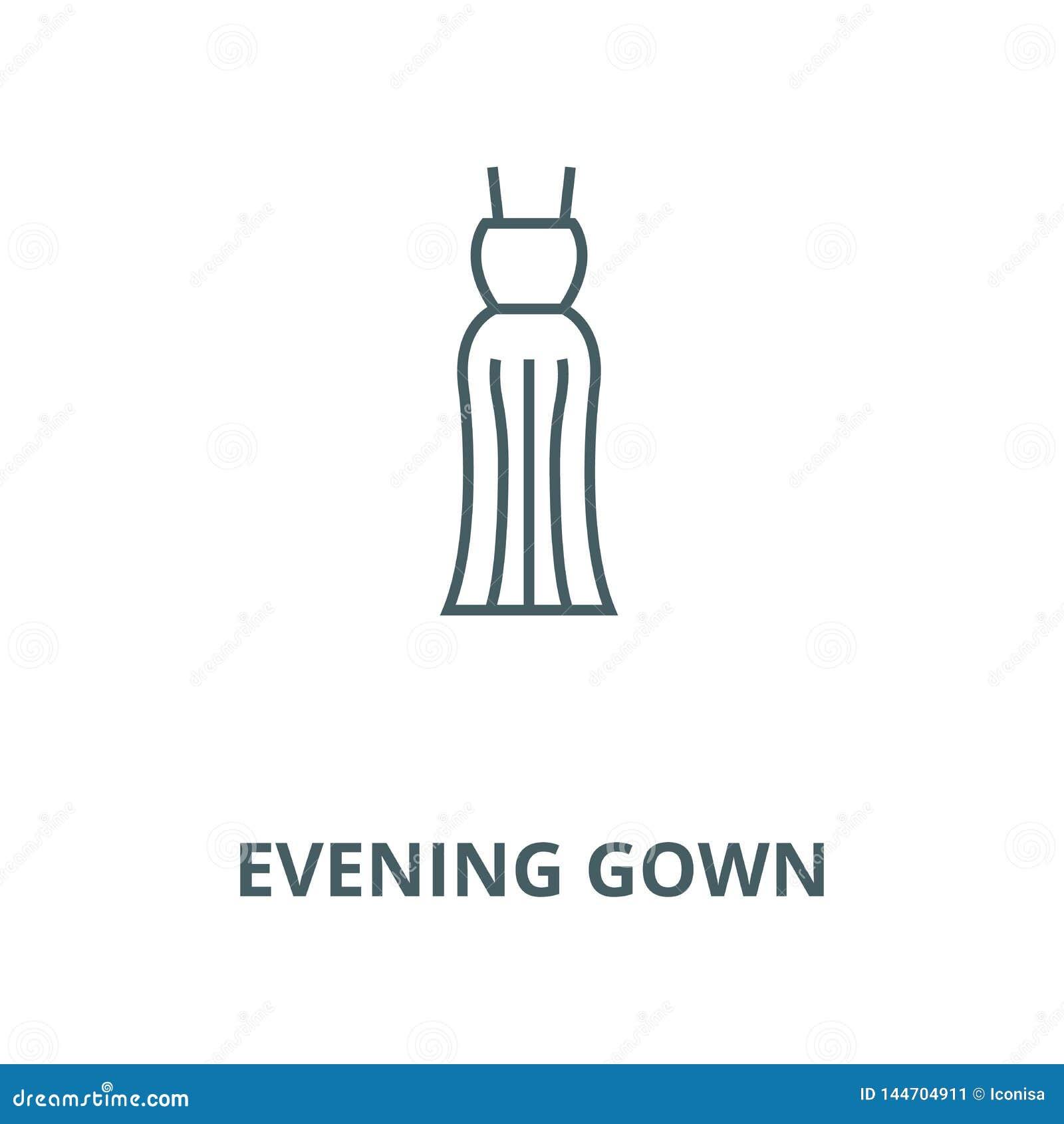 Линия значок мантии вечера, вектор Знак плана мантии вечера, символ ко