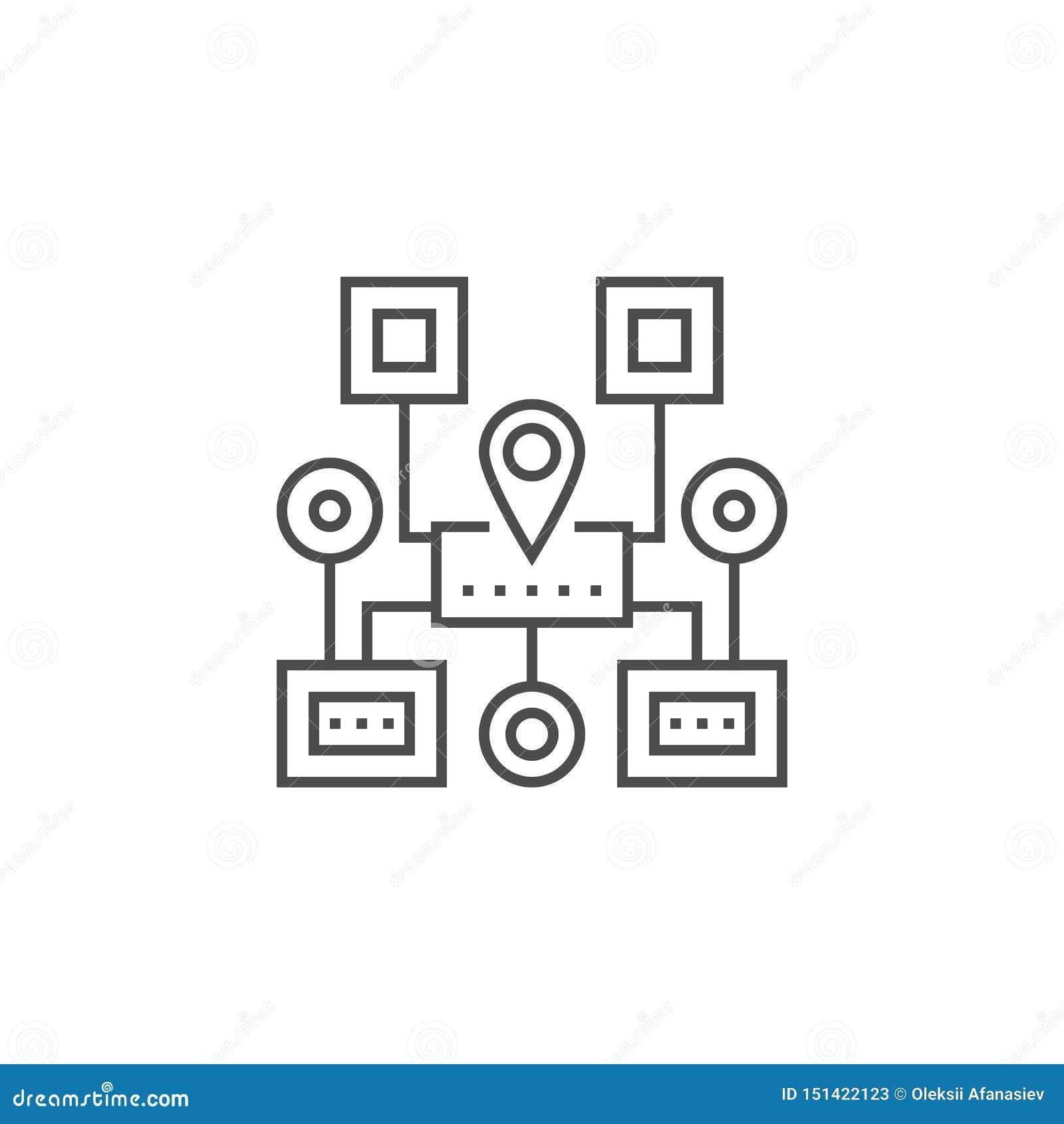 Линия значок навигации Sitemap