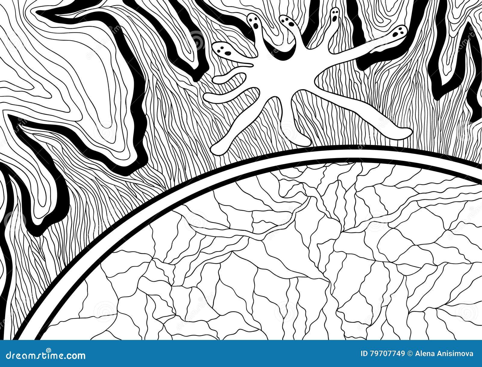 Линия дизайн искусства для книжка-раскраски для взрослого Запутанность, ободрение doodle
