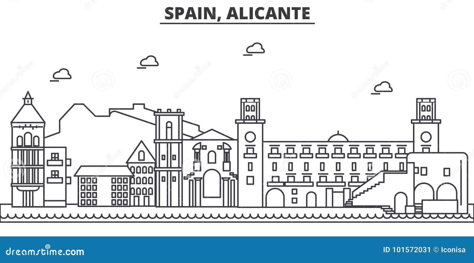 Линия иллюстрация архитектуры Испании, Аликанте горизонта Линейный городской пейзаж с известными ориентир ориентирами, визировани