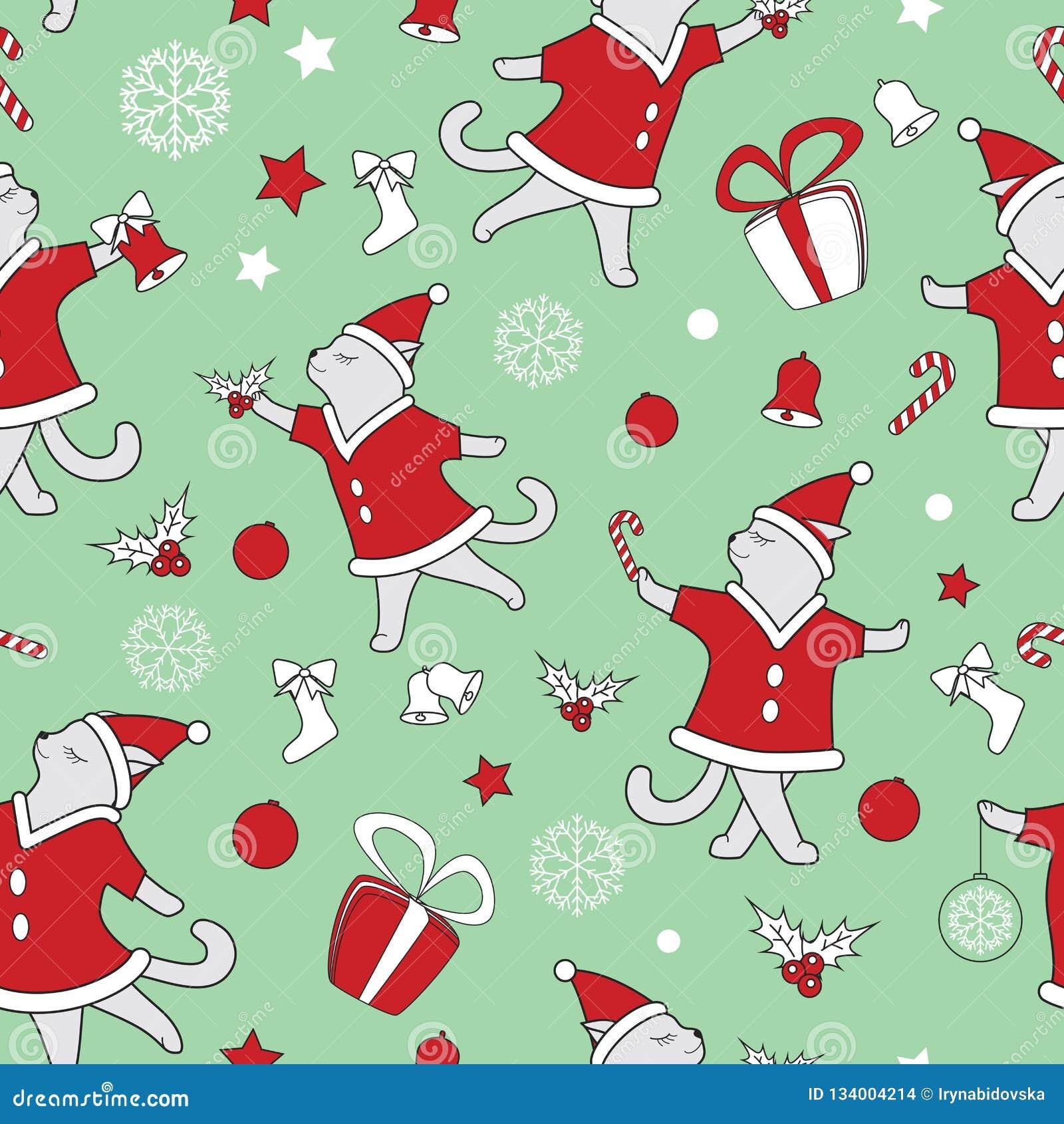 Линия иллюстрация вектора котов doodle искусства милая танцуя картина рождества безшовная