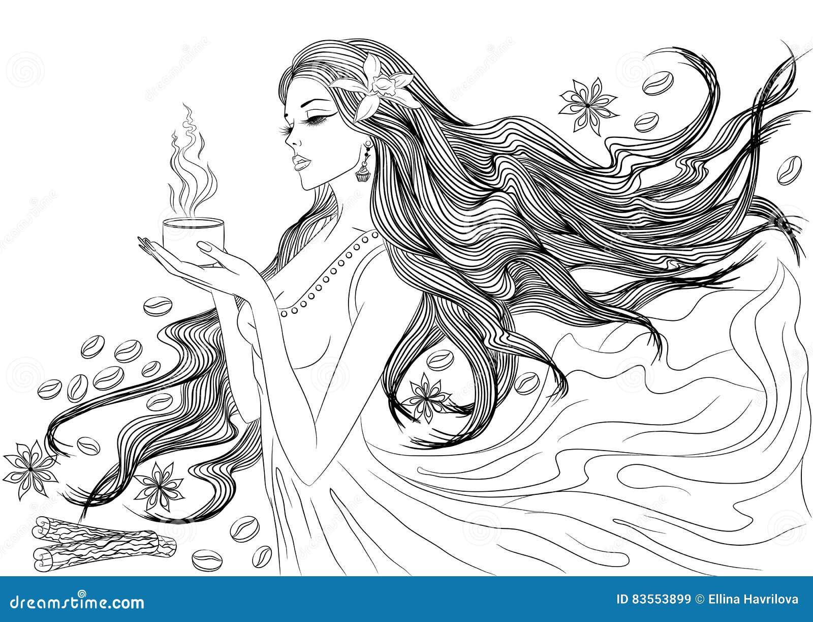 линия искусство девушки с кофейной чашкой иллюстрация