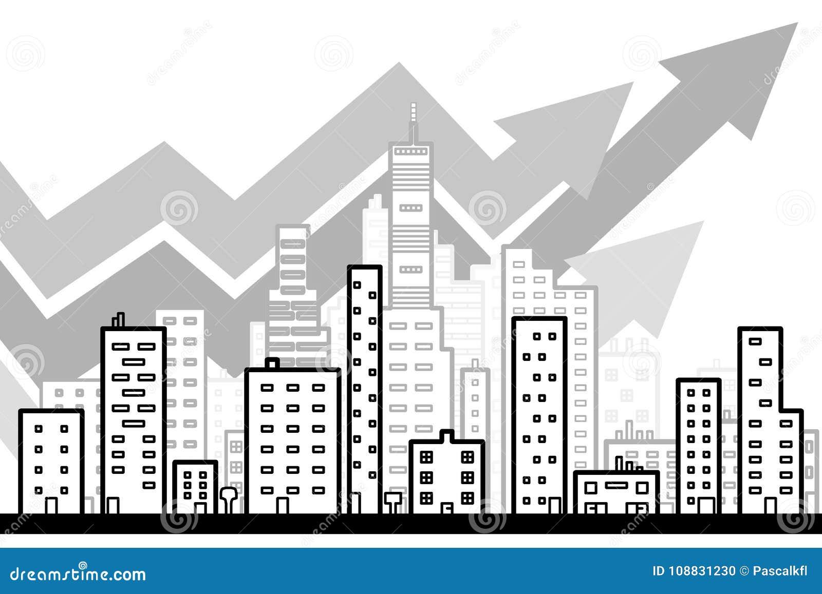 Линия искусство современной большой предпосылки города с стилем дизайна небоскребов плоским