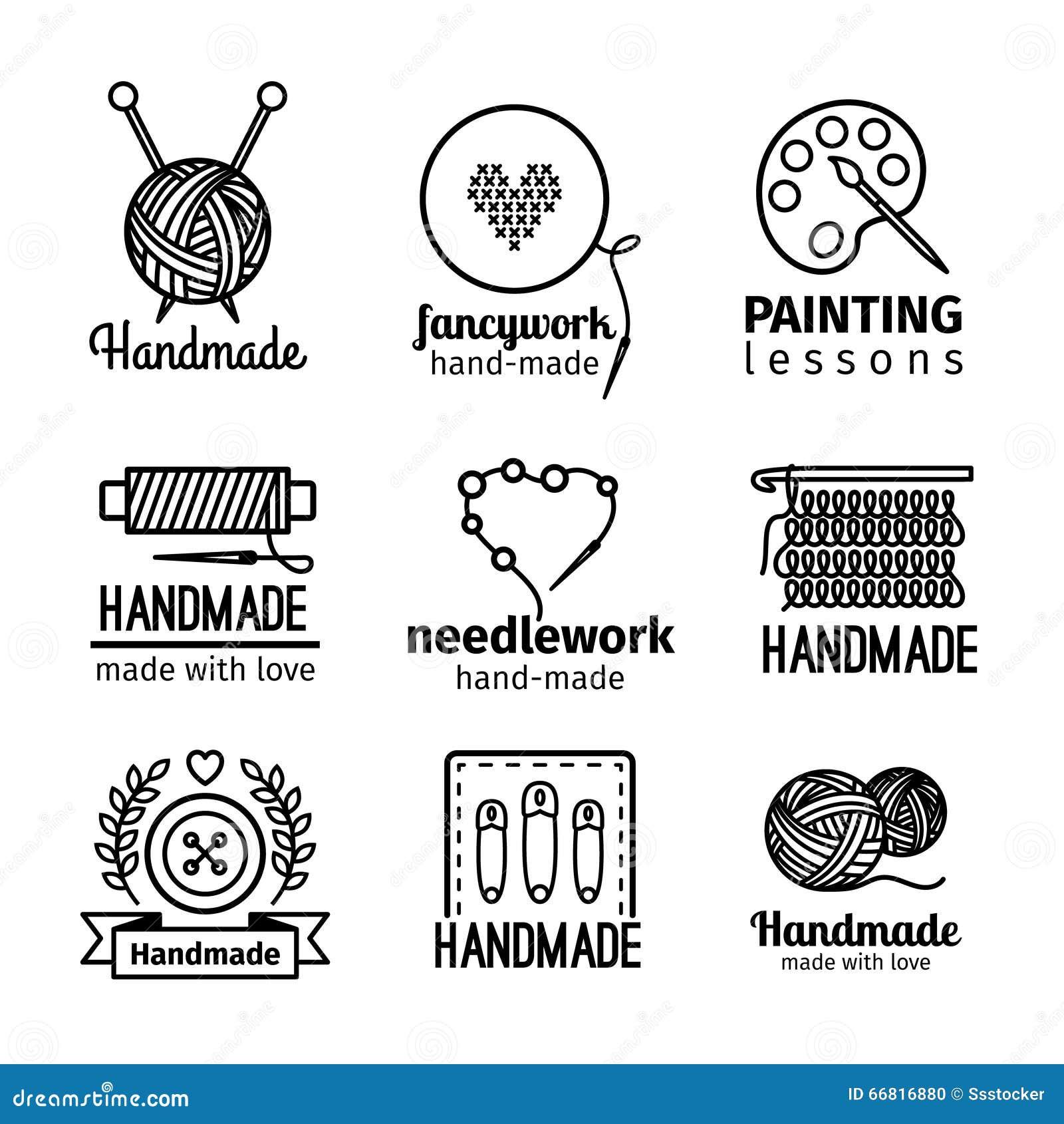 Линия комплект Handmade мастерской тонкая логотипа