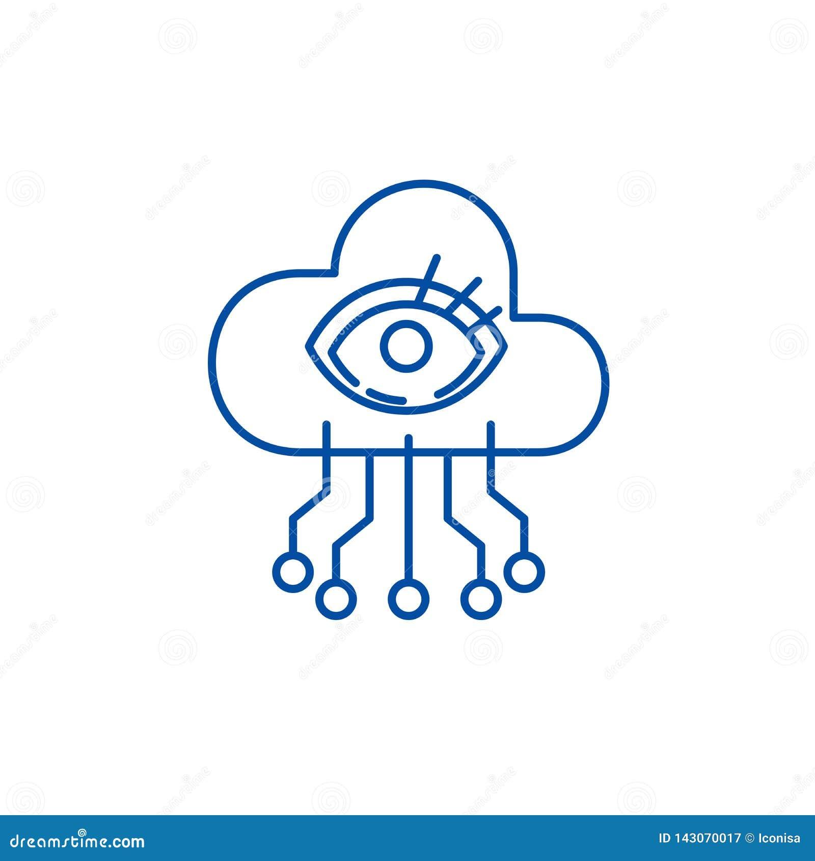 Линия концепция визуализирования искусственного интеллекта значка Символ вектора визуализирования искусственного интеллекта плоск
