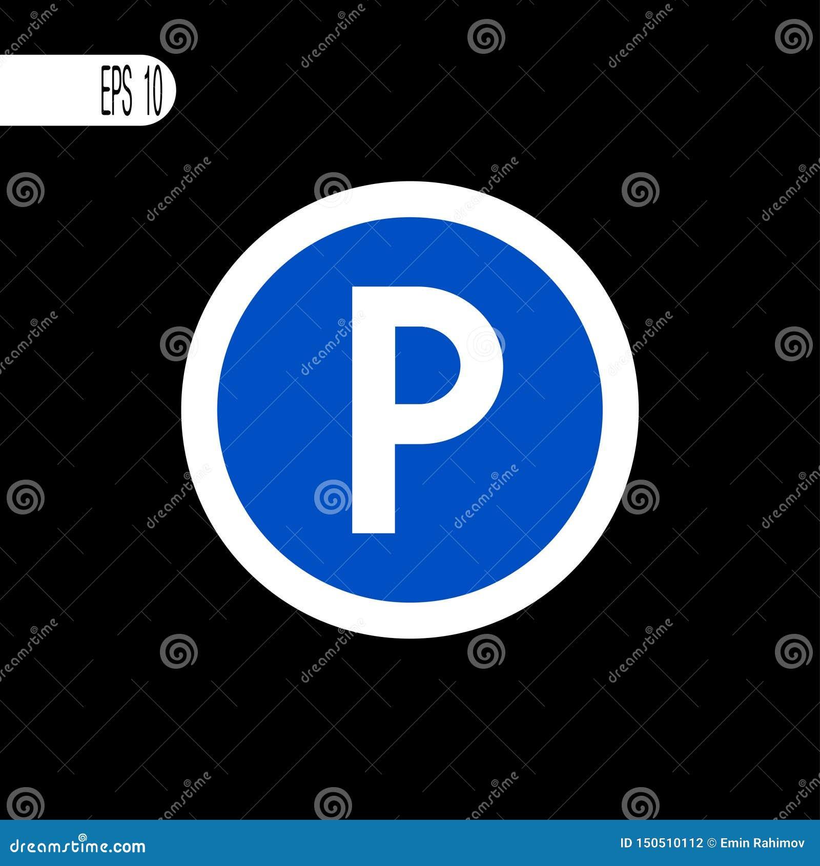 Линия круглого знака белая тонкая Знак стоянки, значок - иллюстрация вектора