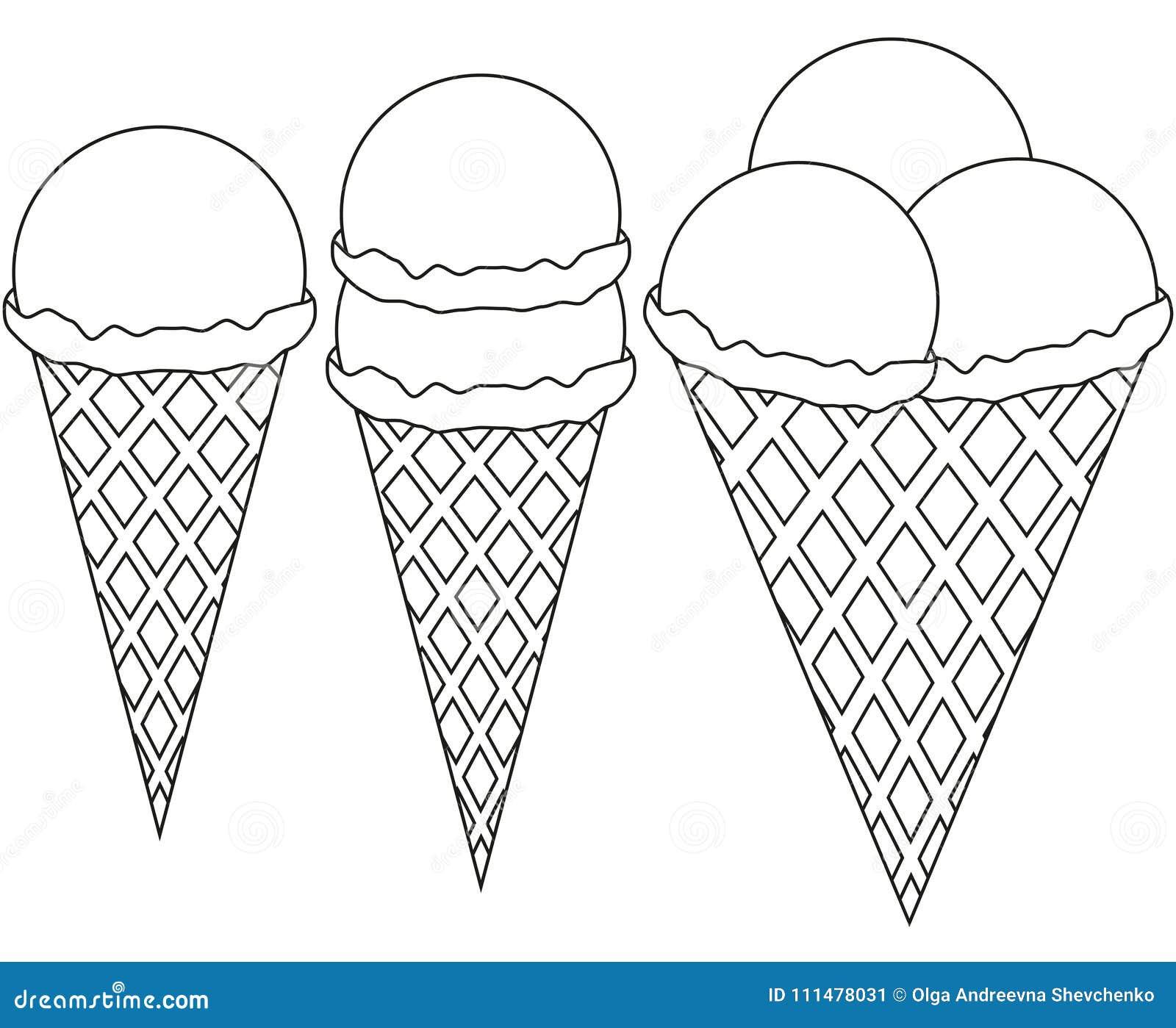 линия мороженое 1 2 искусства комплект значка конуса 3