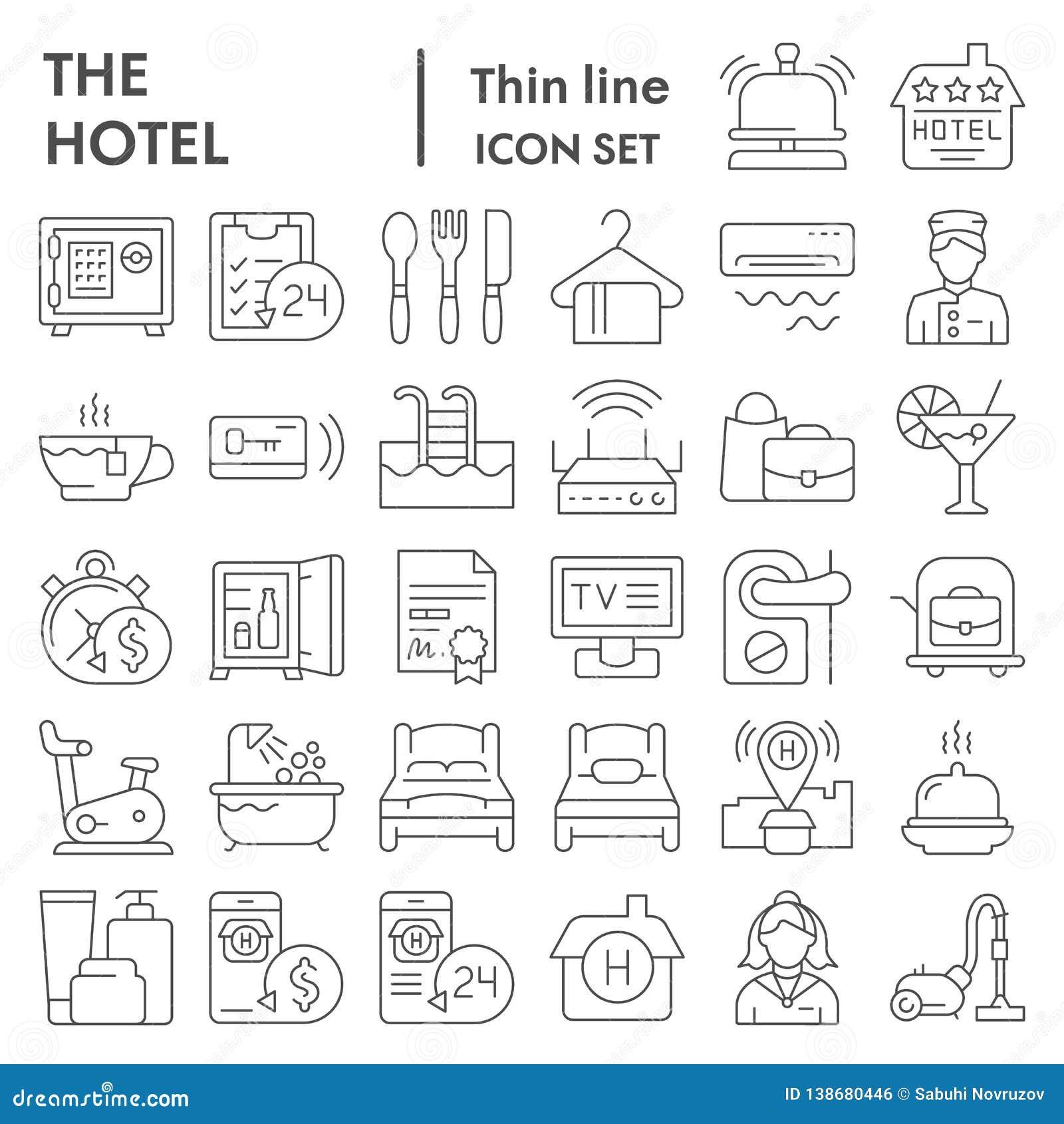 Линия набор гостиницы тонкая значка, символы собрание обслуживания, эскизы вектора, иллюстрации логотипа, знаки общежития линейны