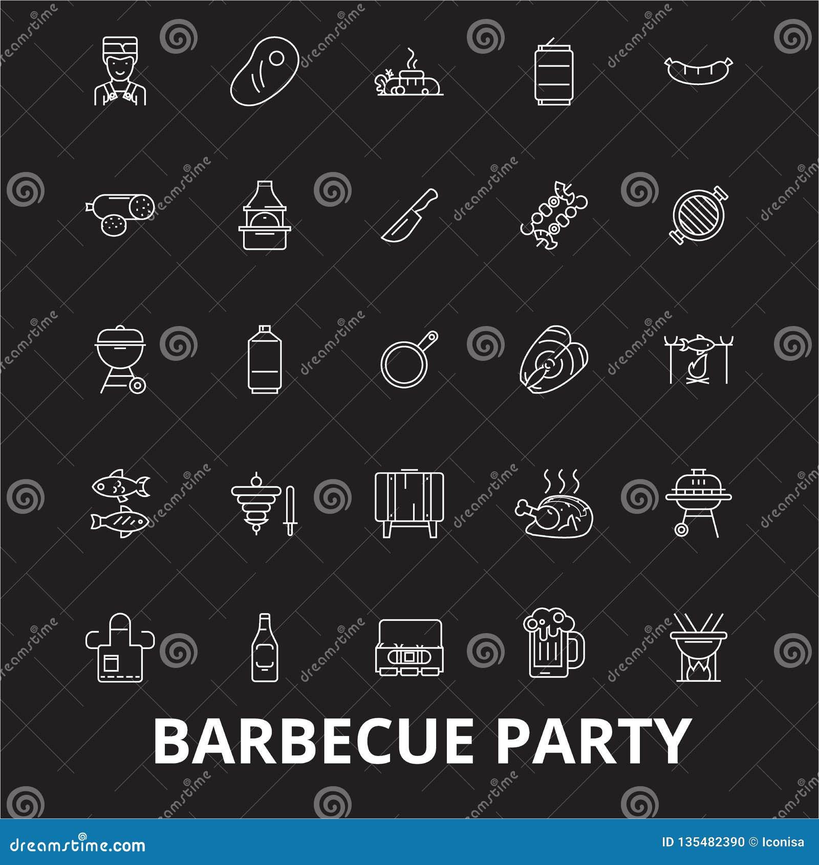 Линия набор партии барбекю editable вектора значков на черной предпосылке Иллюстрации плана партии барбекю белые, знаки