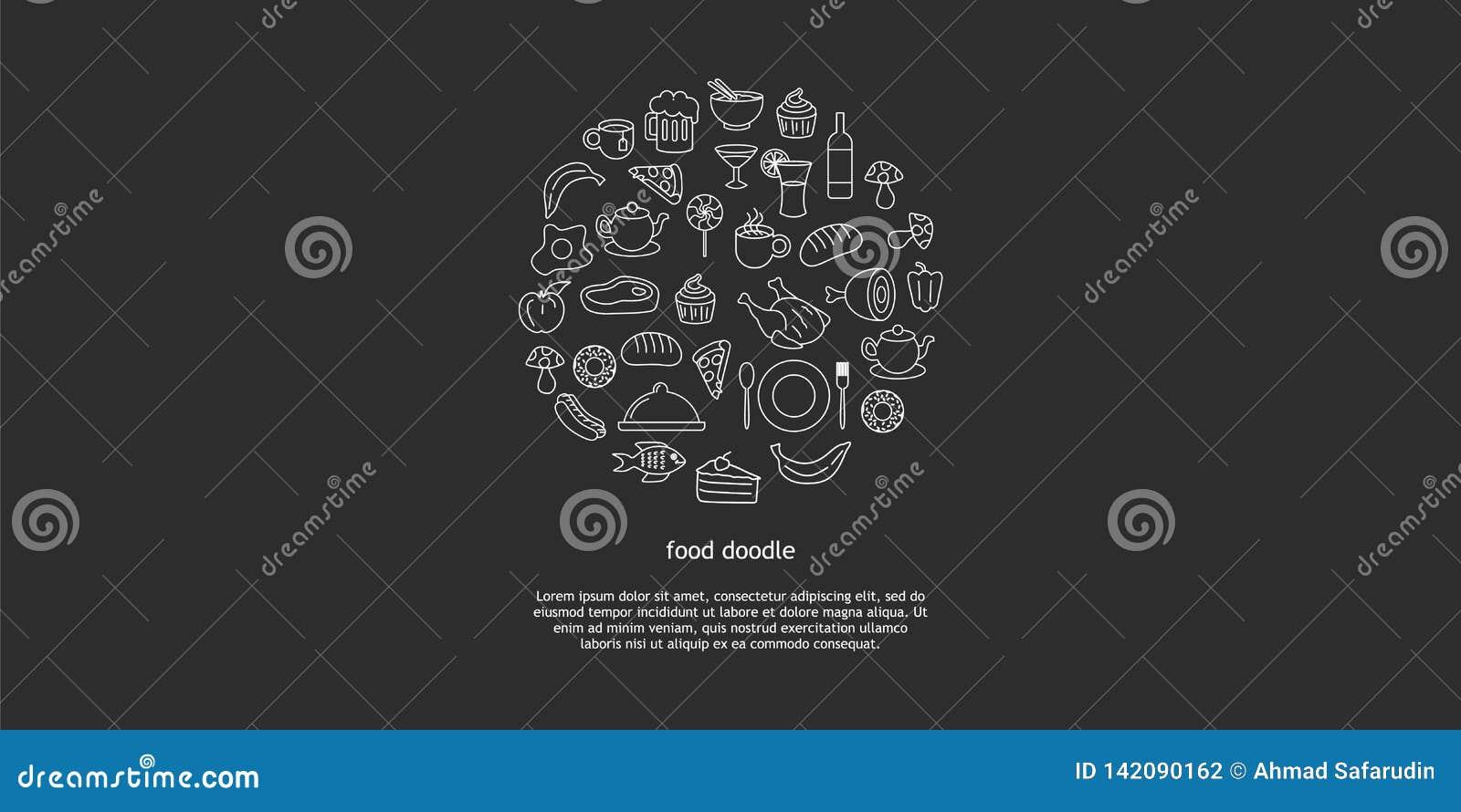 Линия набор руки вектора искусства вычерченный объектов, символов и деталей doodle мультфильма высококалорийной вредной пищи Круг