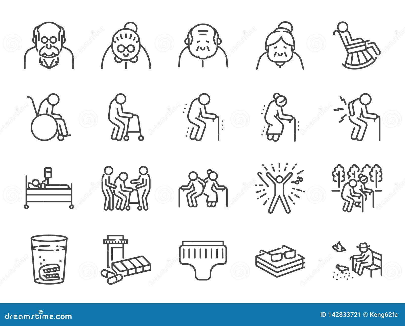 Линия набор старика значка Включенные значки как более старые люди, вызревание, здоровое, старшее, жизнь и больше