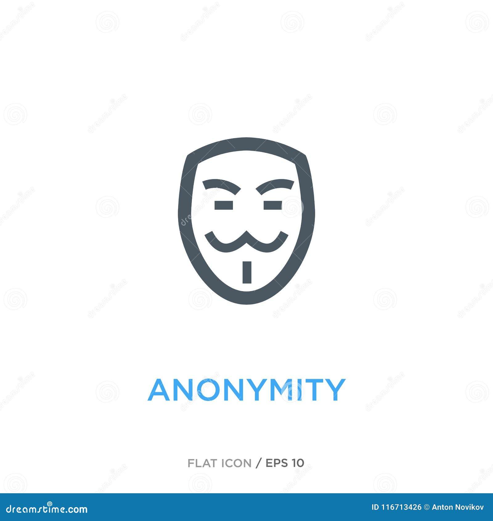 Линия плоский значок анонимности