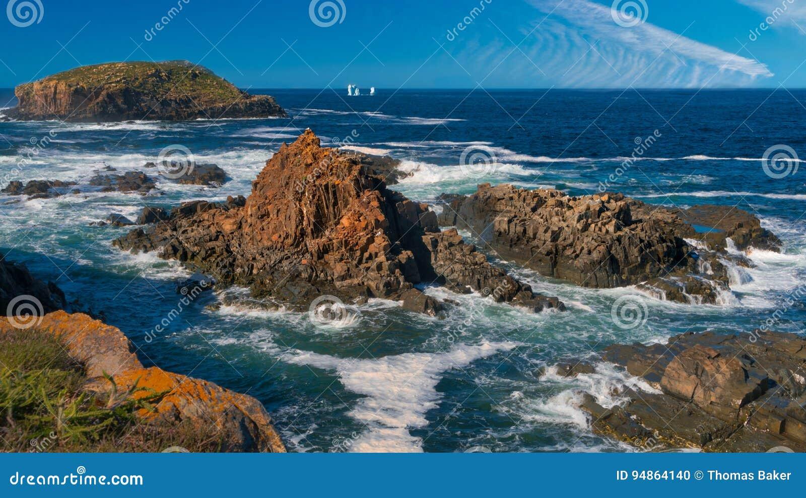 Линия побережья Ньюфаундленда как увидено от Elliston