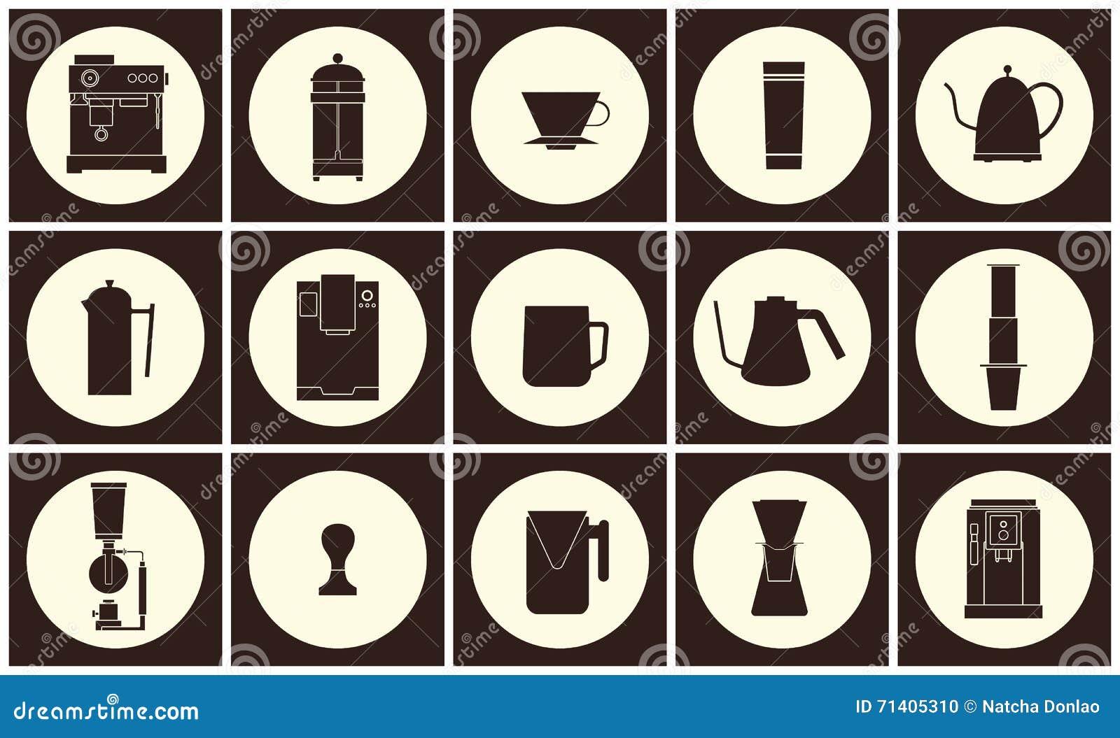 Линия собрание вектора оборудования кофе плоская значка