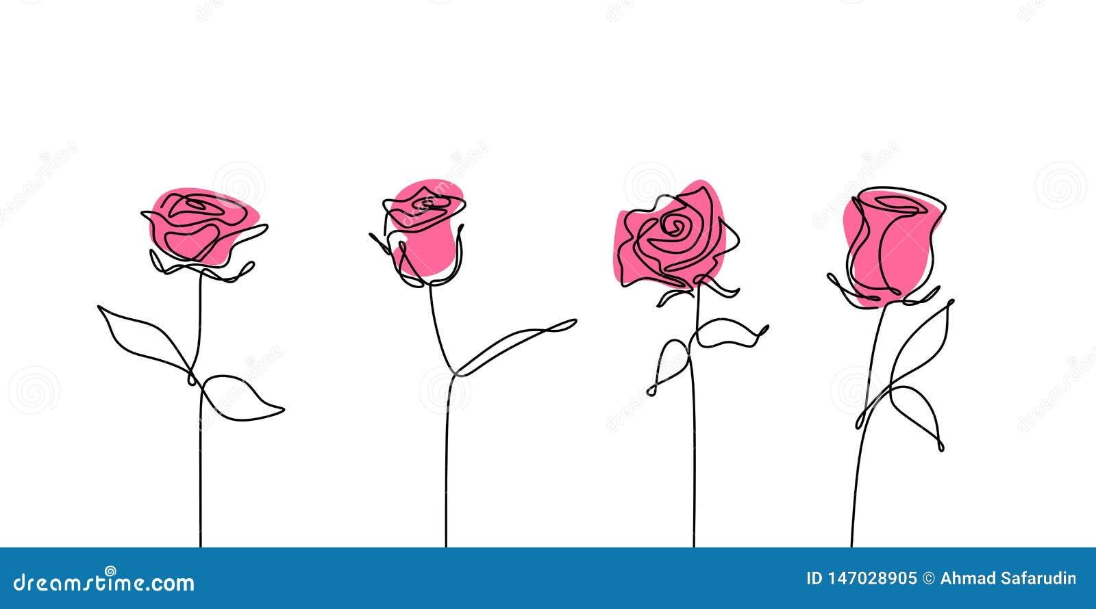 Линия собрания розового цветка непрерывная чертежа установленные
