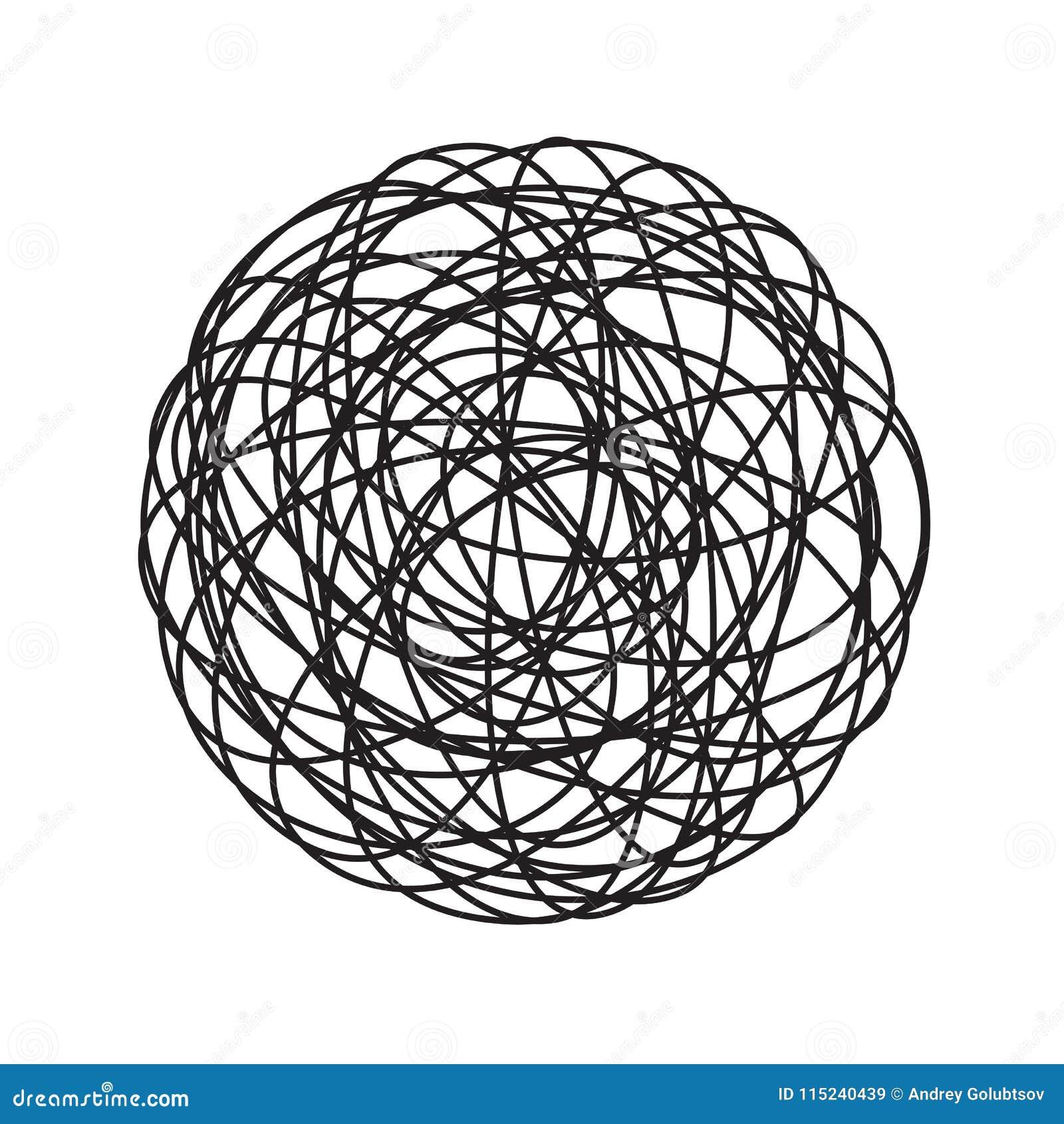 Линия хаотический запутанный значок doodle круга путать хаоса вектора шарика потока