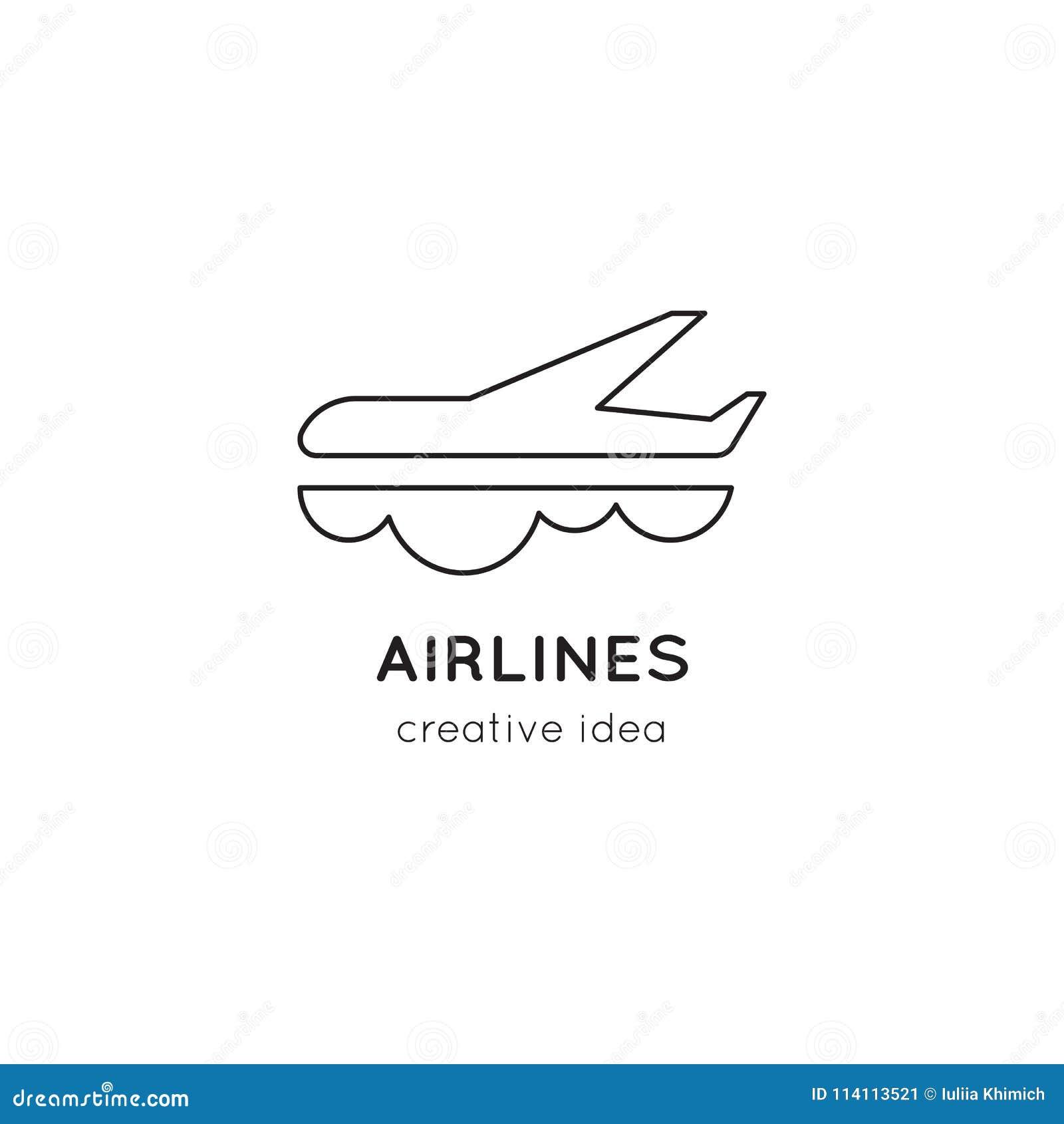 Линия шаблон авиакомпаний логотипа