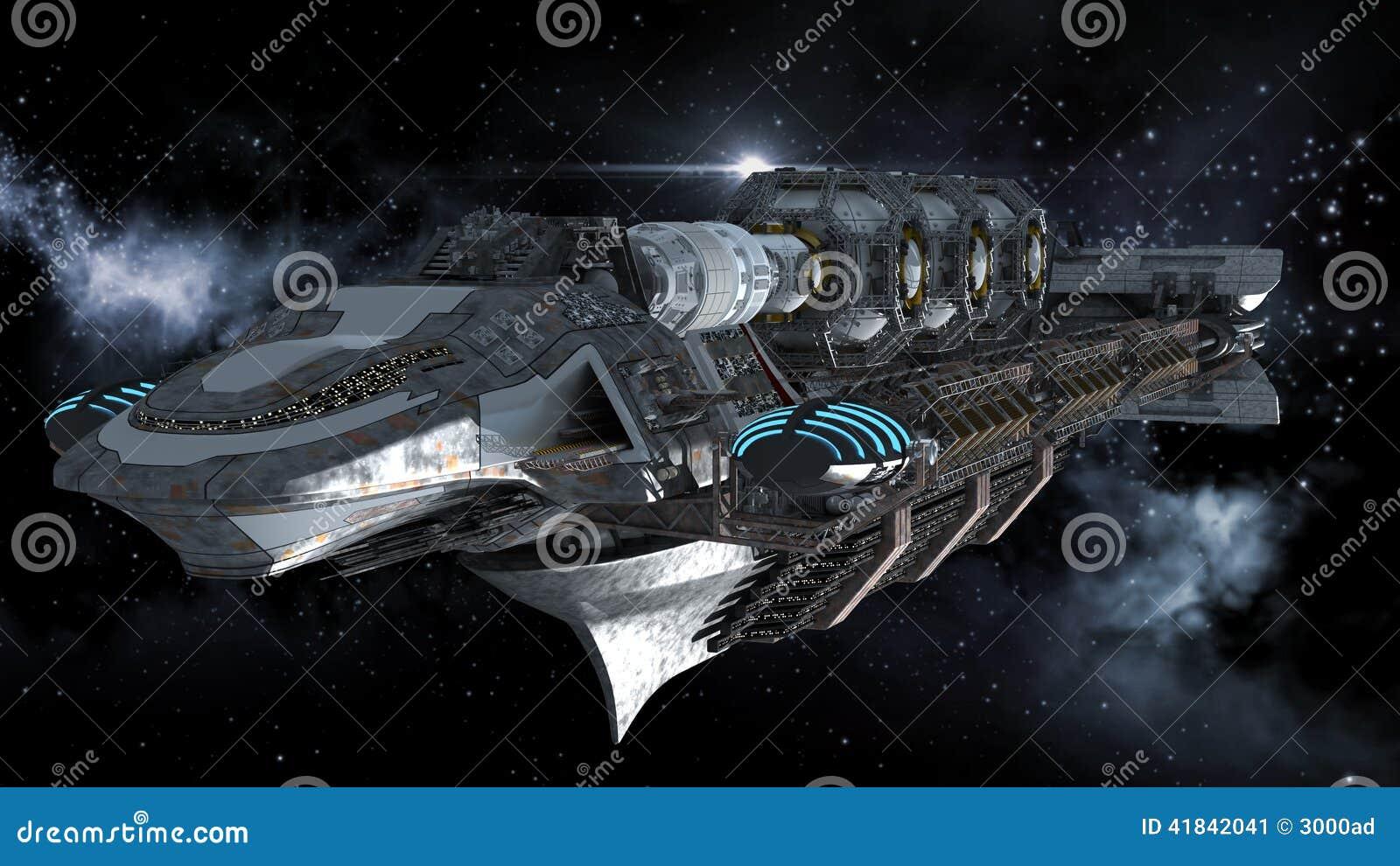 Линкор чужеземца в перемещении глубокого космоса