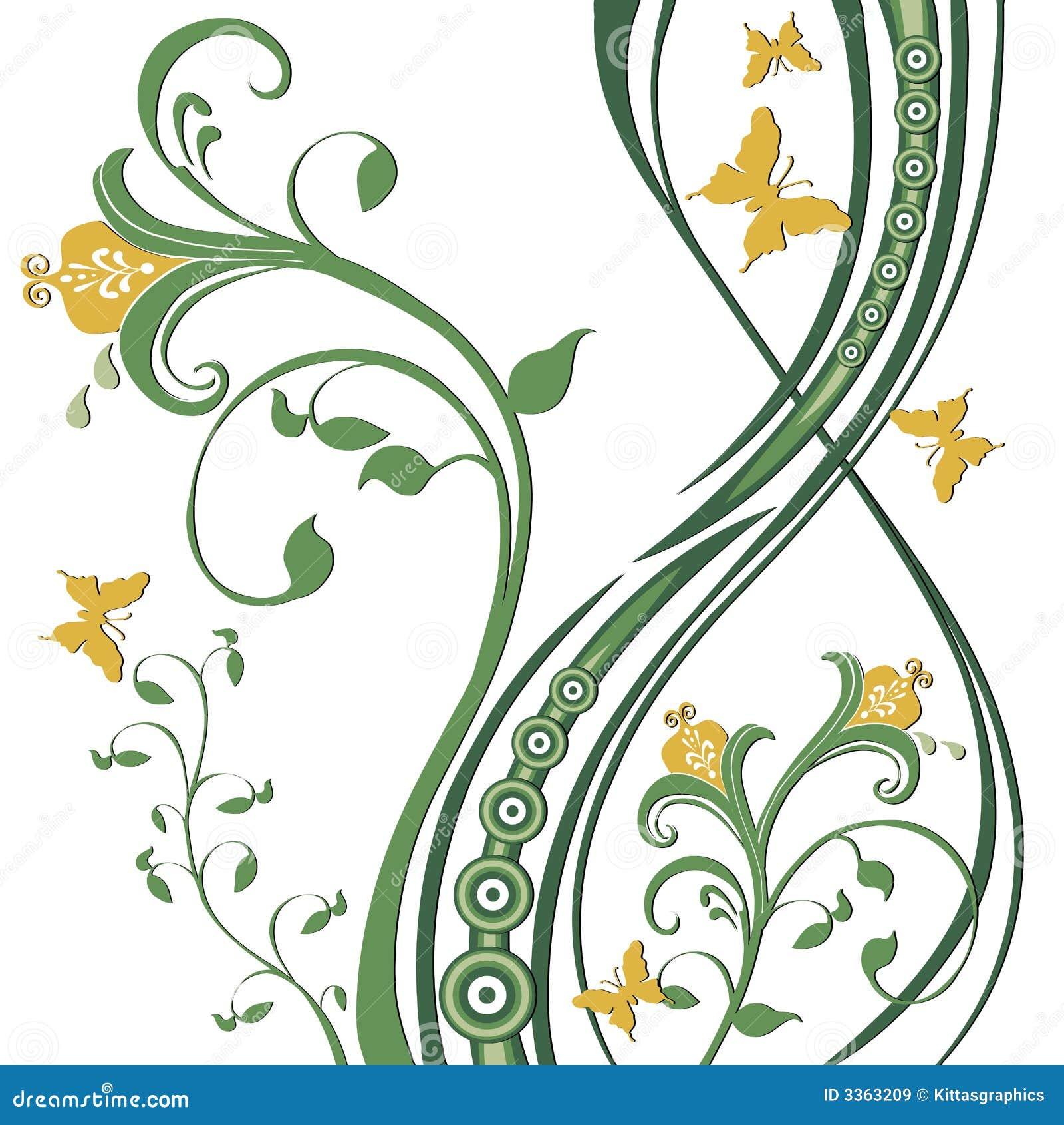 листво цветков бабочек