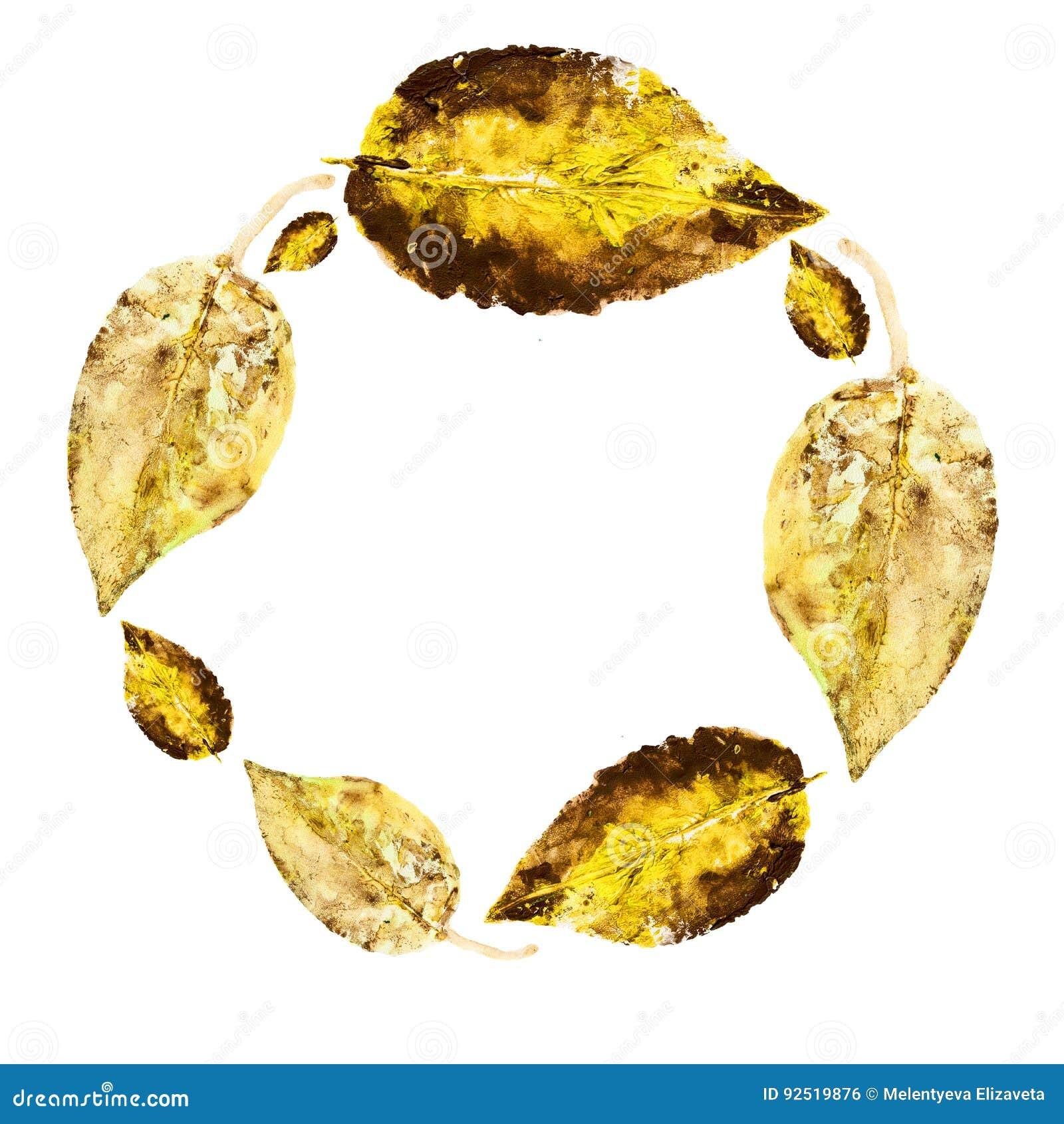 Листья акварели изолированные на белой предпосылке, круглой рамке, руке нарисованные лист отпечатка штемпеля венка, поздравительн