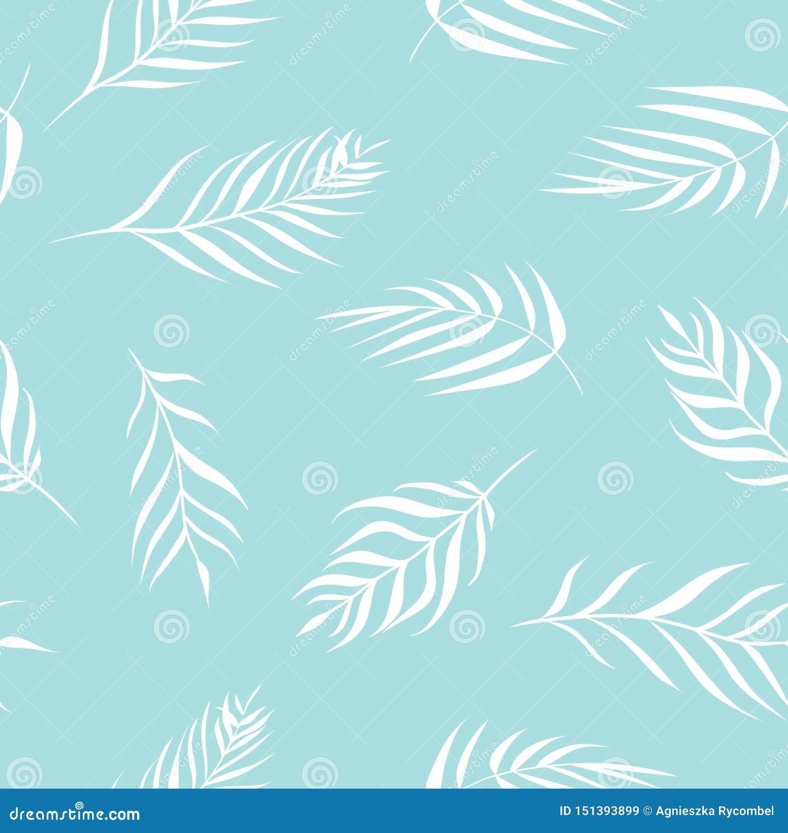 Листья ладони вектора тропические в предпосылке картины чувствительных пастельных цветов безшовной