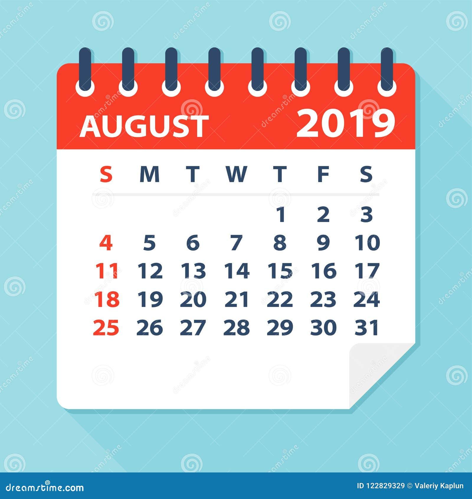 Лист календаря августа 2019 - иллюстрация вектора