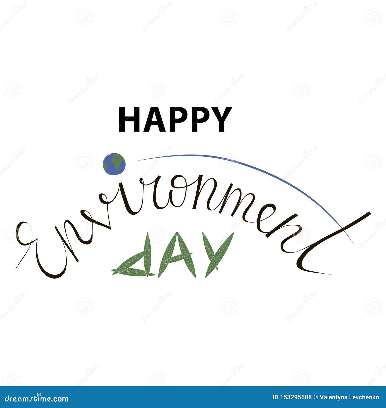 Литерность руки дня мировой окружающей среды для карт, плакатов etc
