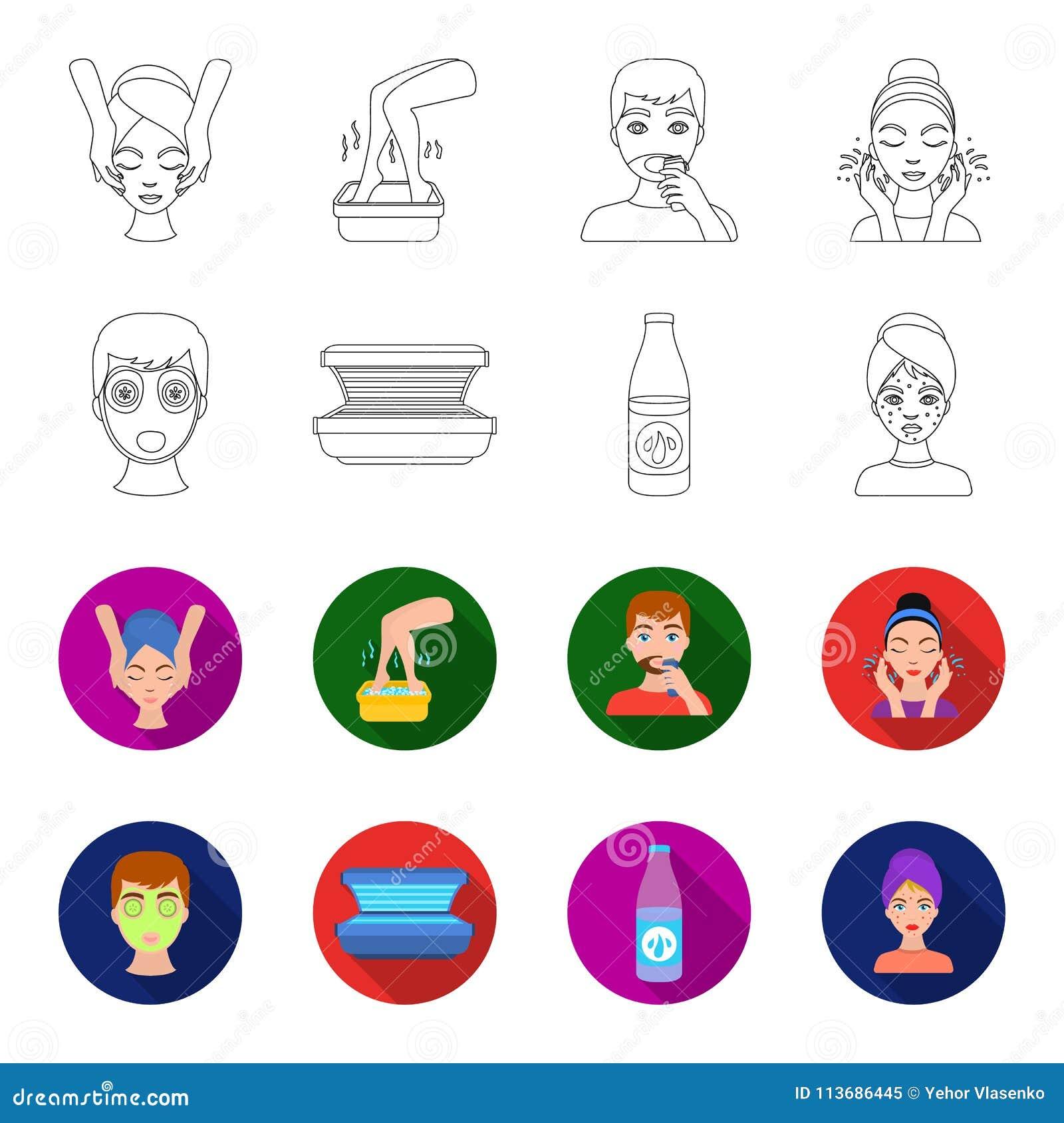 Лицевой щиток гермошлема, солярий, lasenom ts бутылки, цыпки на стороне Значки собрания заботы кожи установленные в плане, вектор