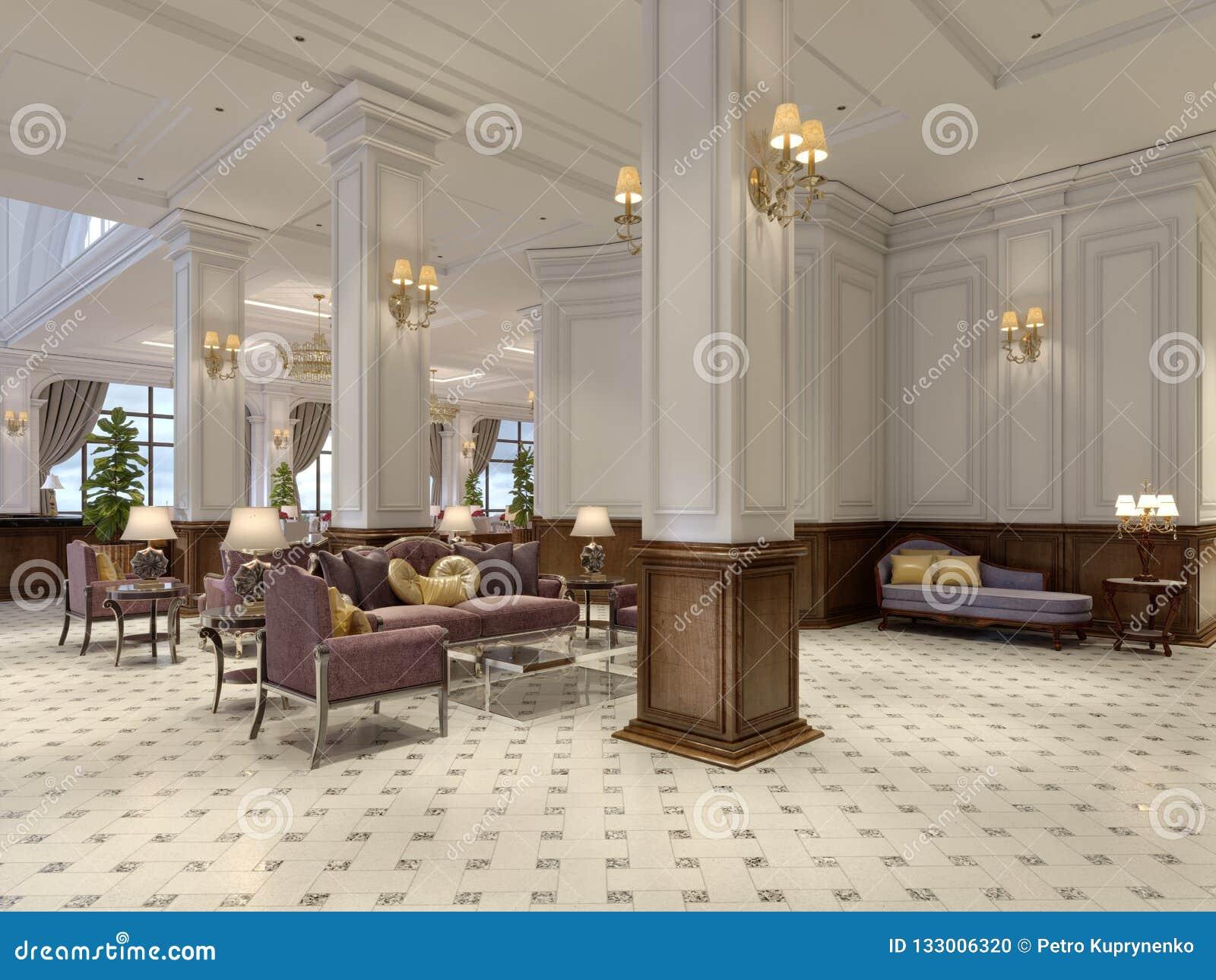 Лобби гостиницы в классическом стиле с роскошной залой мебели стиля Арт Деко и плитки мозаики