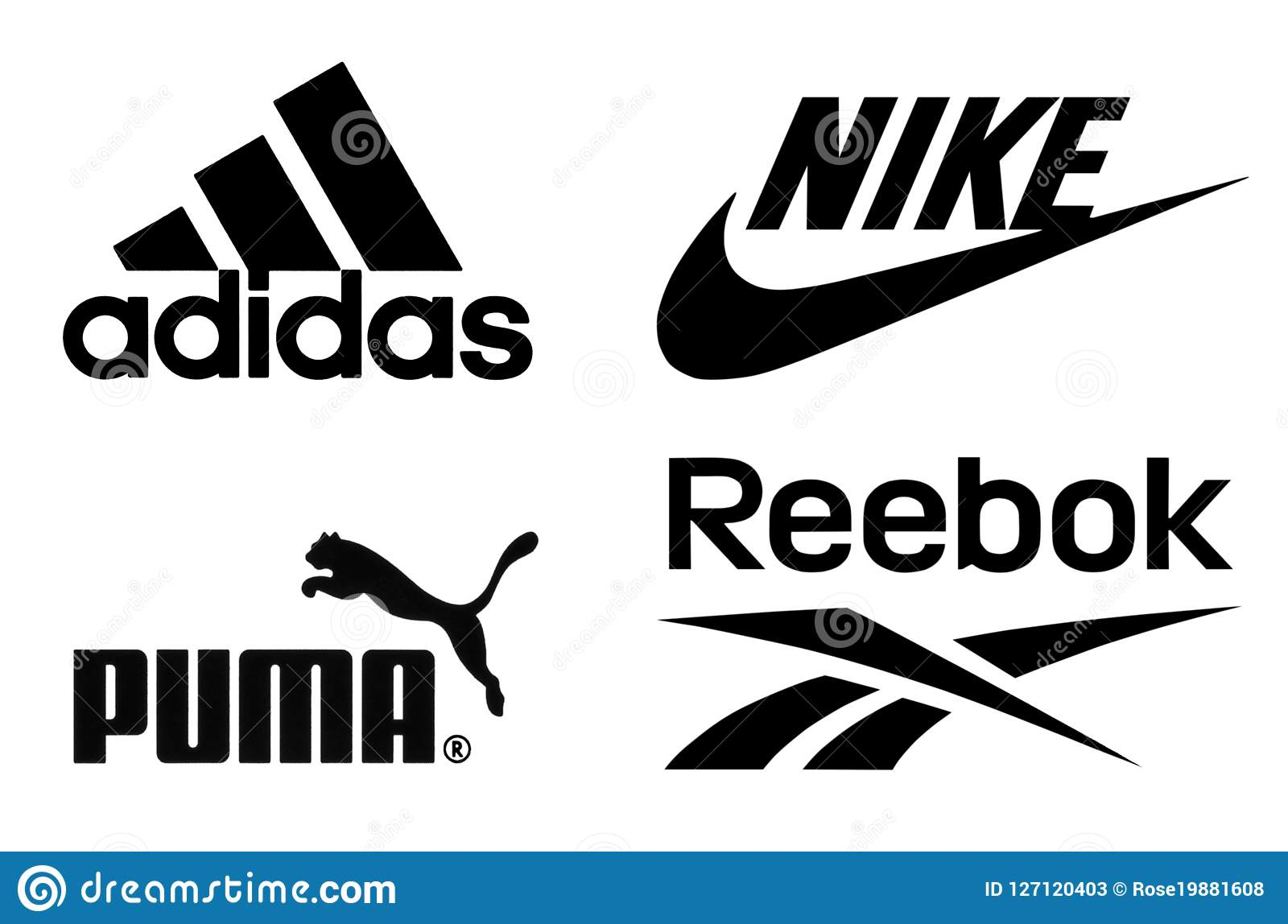 ef671c96 Киев, Украина - 15-ое февраля 2017: Логотипы Adidas, Найк, пумы и Reebok  напечатанные на бумаге и помещенные на белой предпосылке