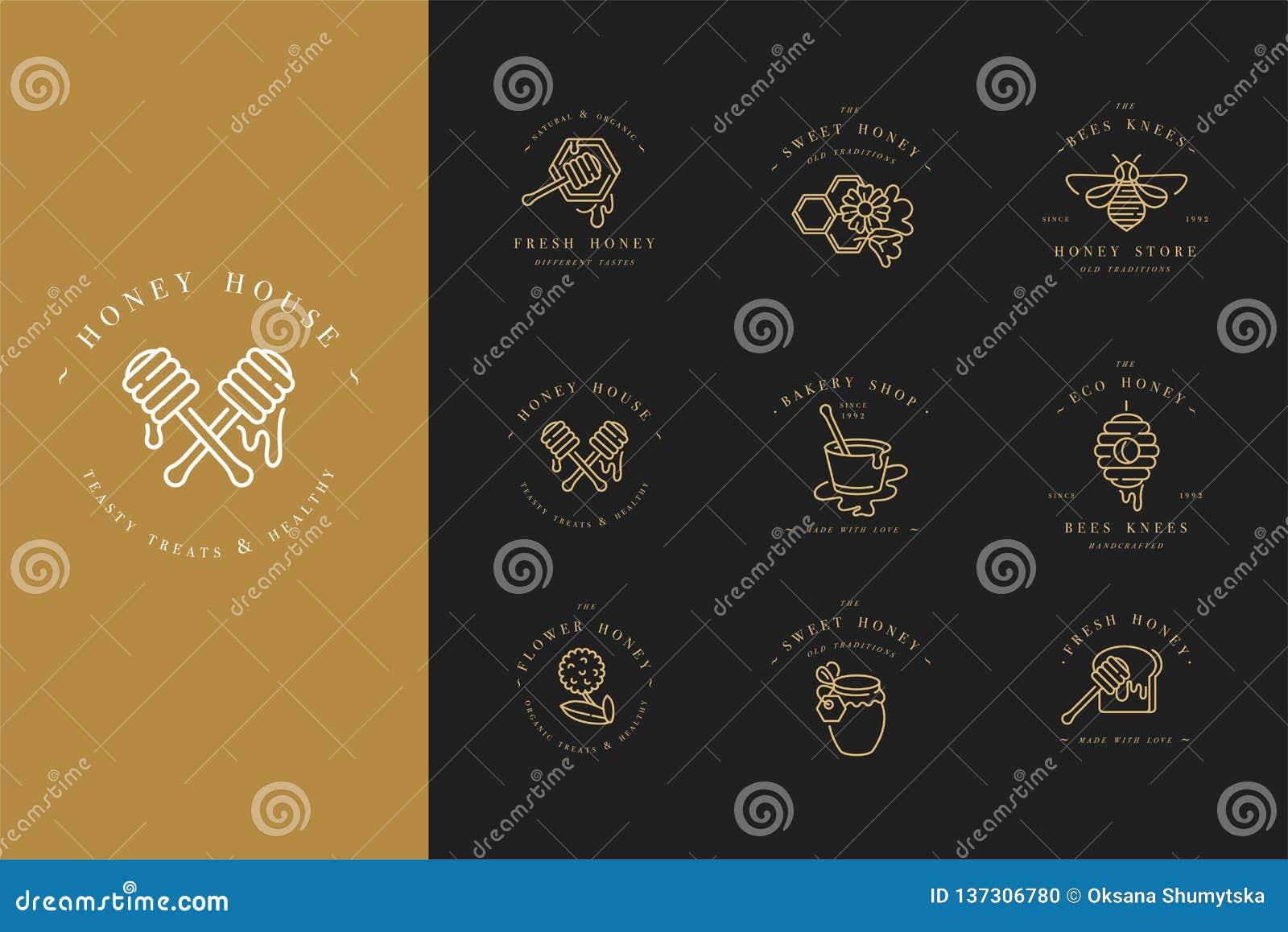 Логотипы illustartion вектора установленные и шаблоны или значки дизайна Ярлыки и бирки органических и eco меда с пчелами линейно