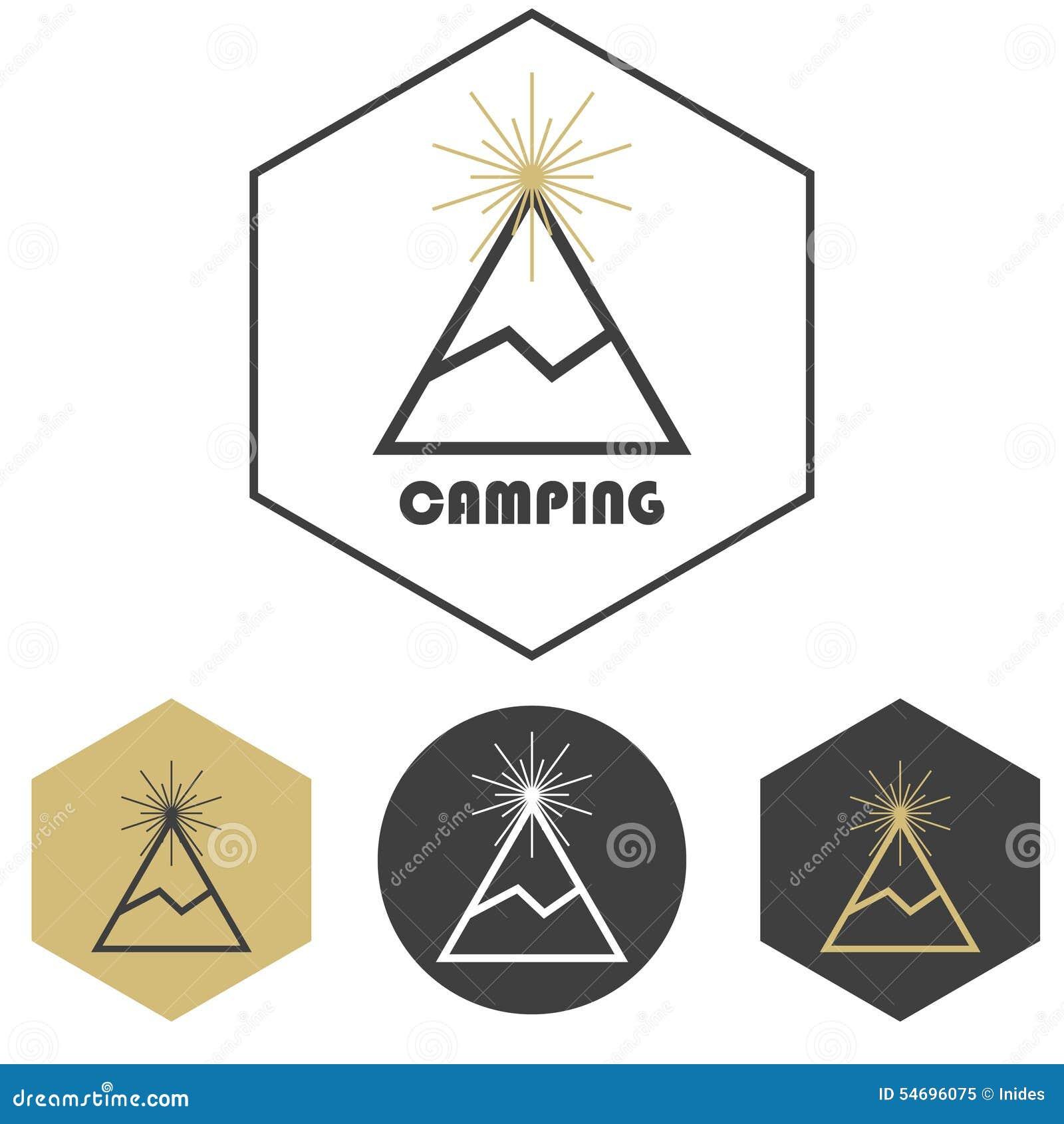 Логотип вектора горы располагаясь лагерем, комплект золота и серый цвет