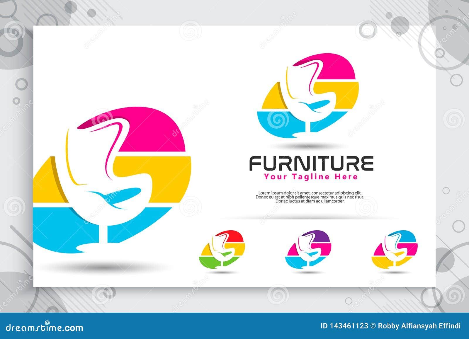 Логотип вектора мебели с современными и красочными дизайнами концепции, минималистским стулом иллюстрации, софой, таблицей как си