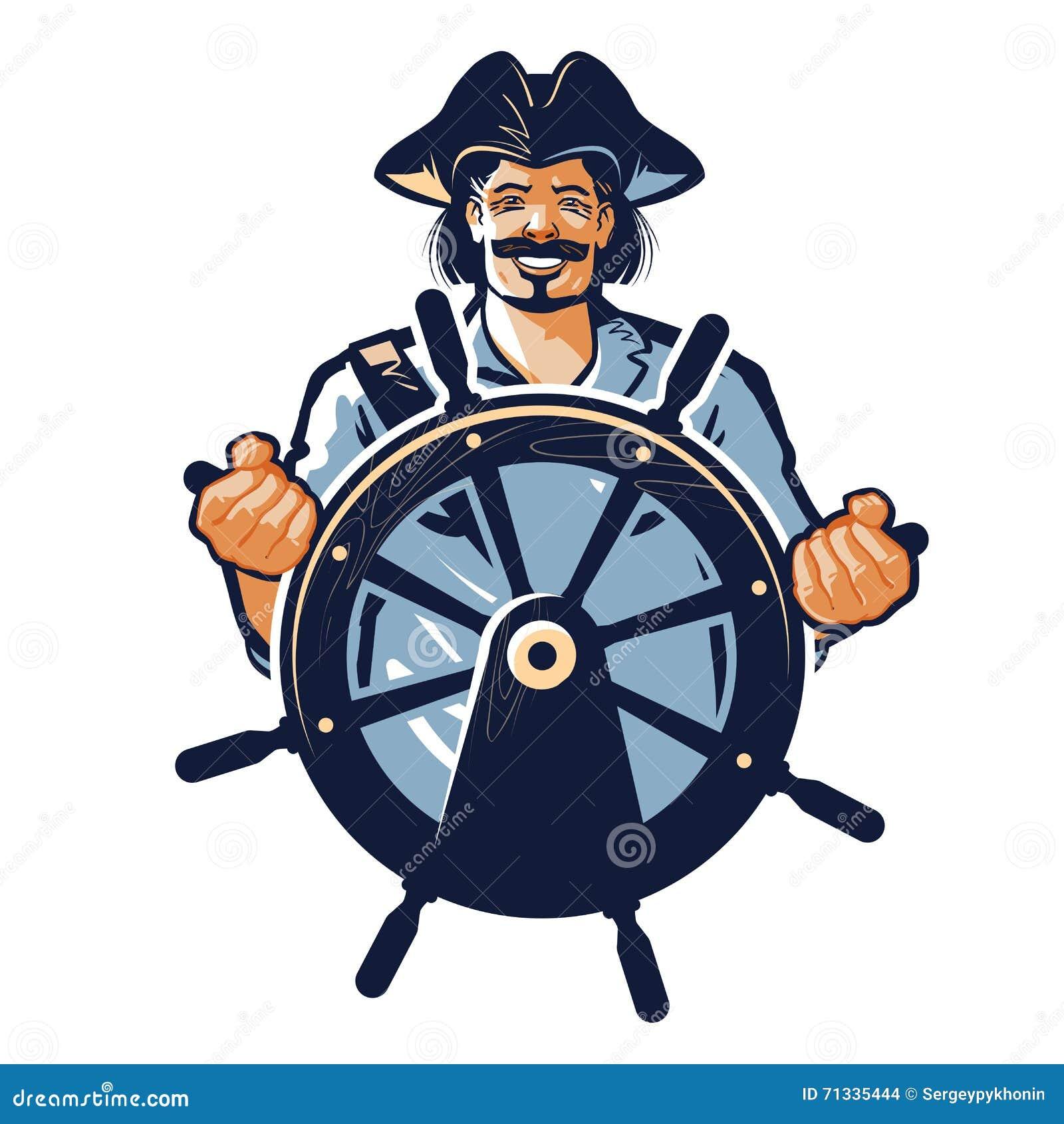 Логотип вектора пирата корсар, капитан, матрос, значок моряка