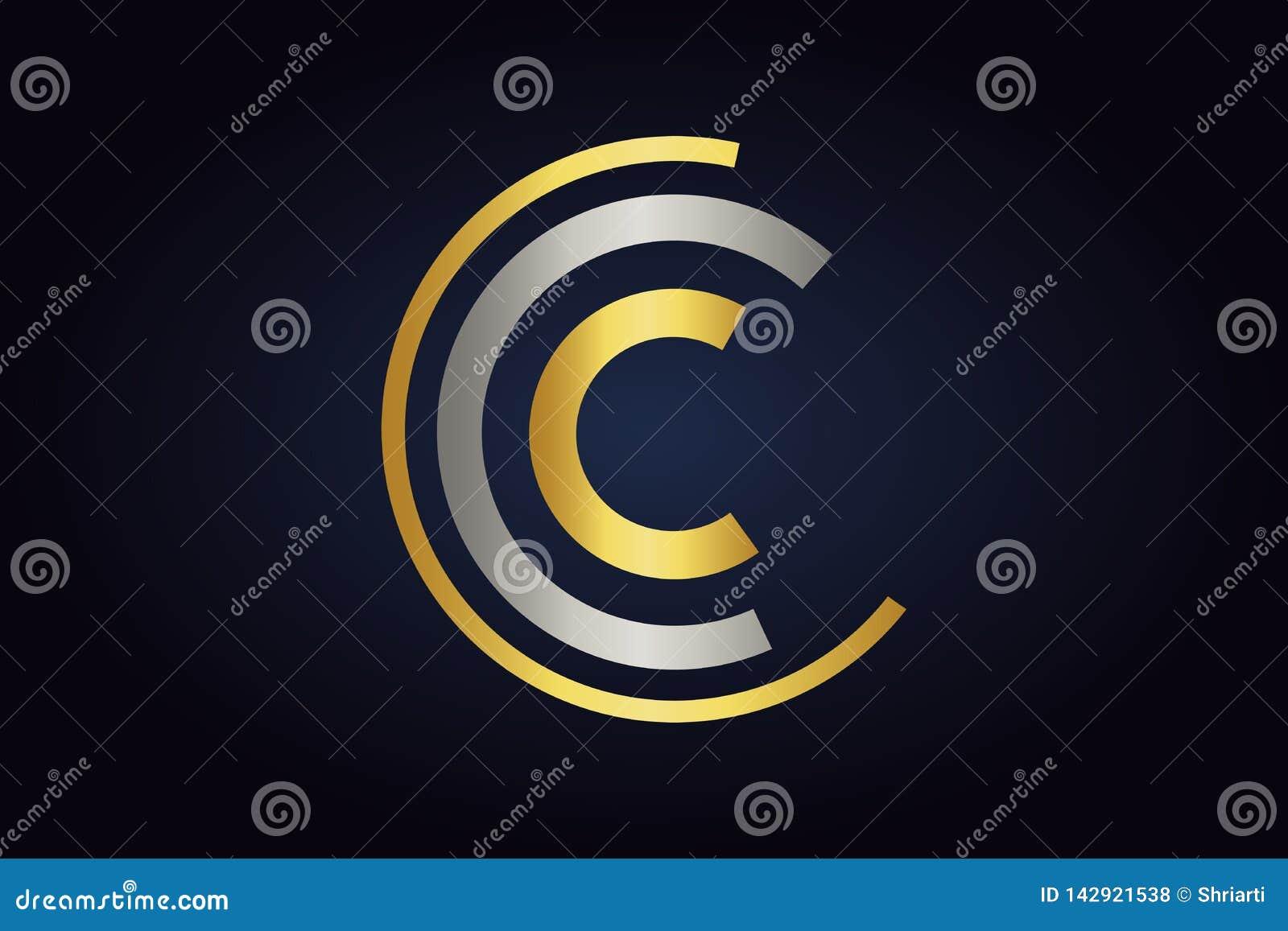 Логотип вектора c 3 писем в цветах серебра и золота изолированный на темной предпосылке