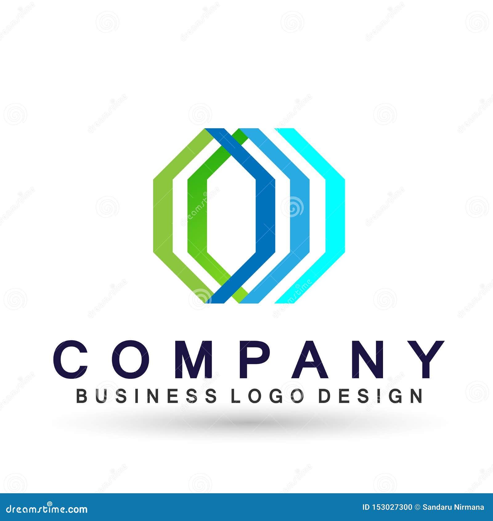 Логотип дела абстрактного шестиугольника форменный, соединение на корпоративном инвестирует дизайн логотипа дела Финансовые инвес