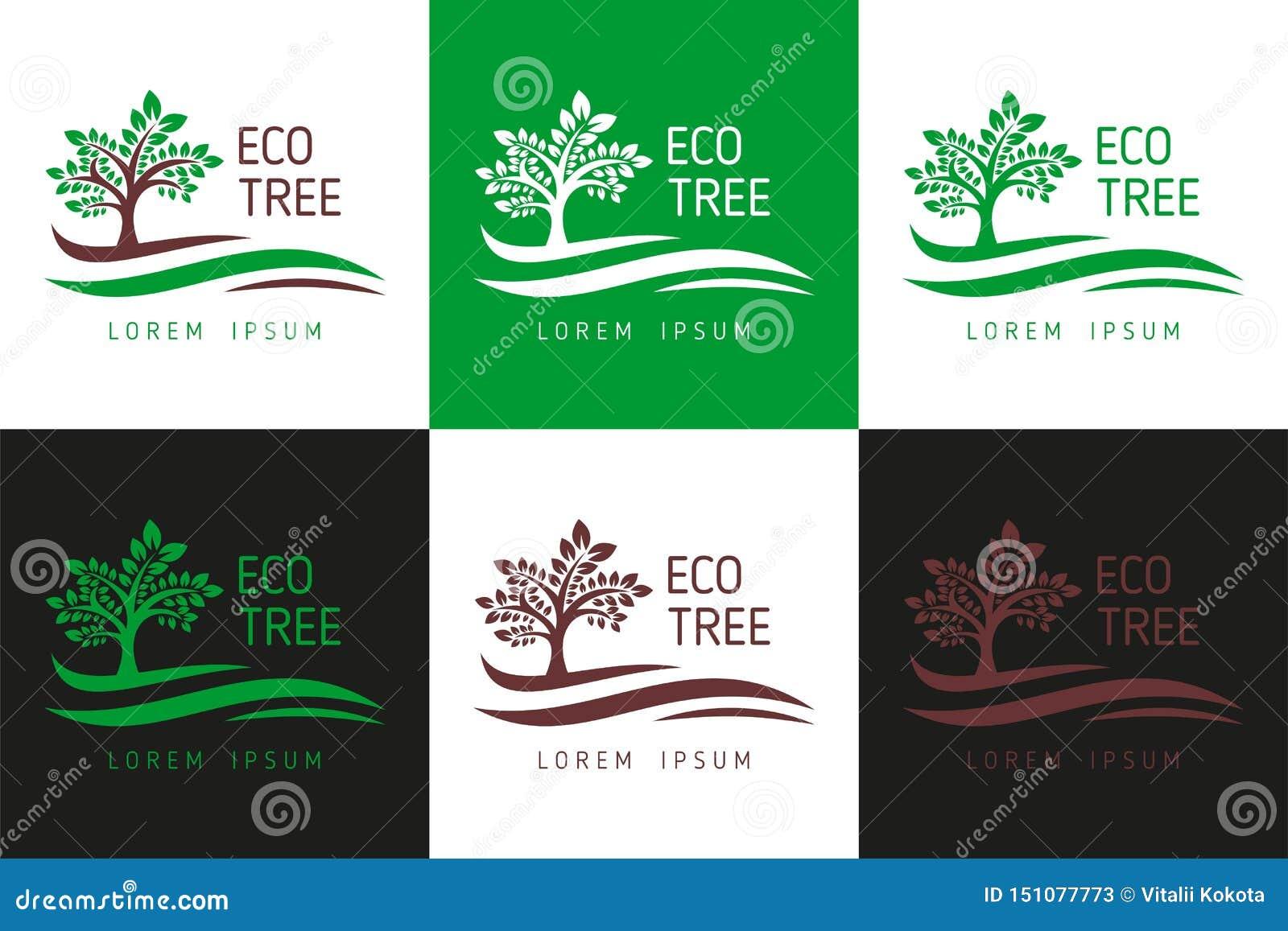 Логотип дерева Eco Вектор шаблона логотипа для дела, логотипа дерева, загрузки шаблона логотипа дерева - загрузки вектора